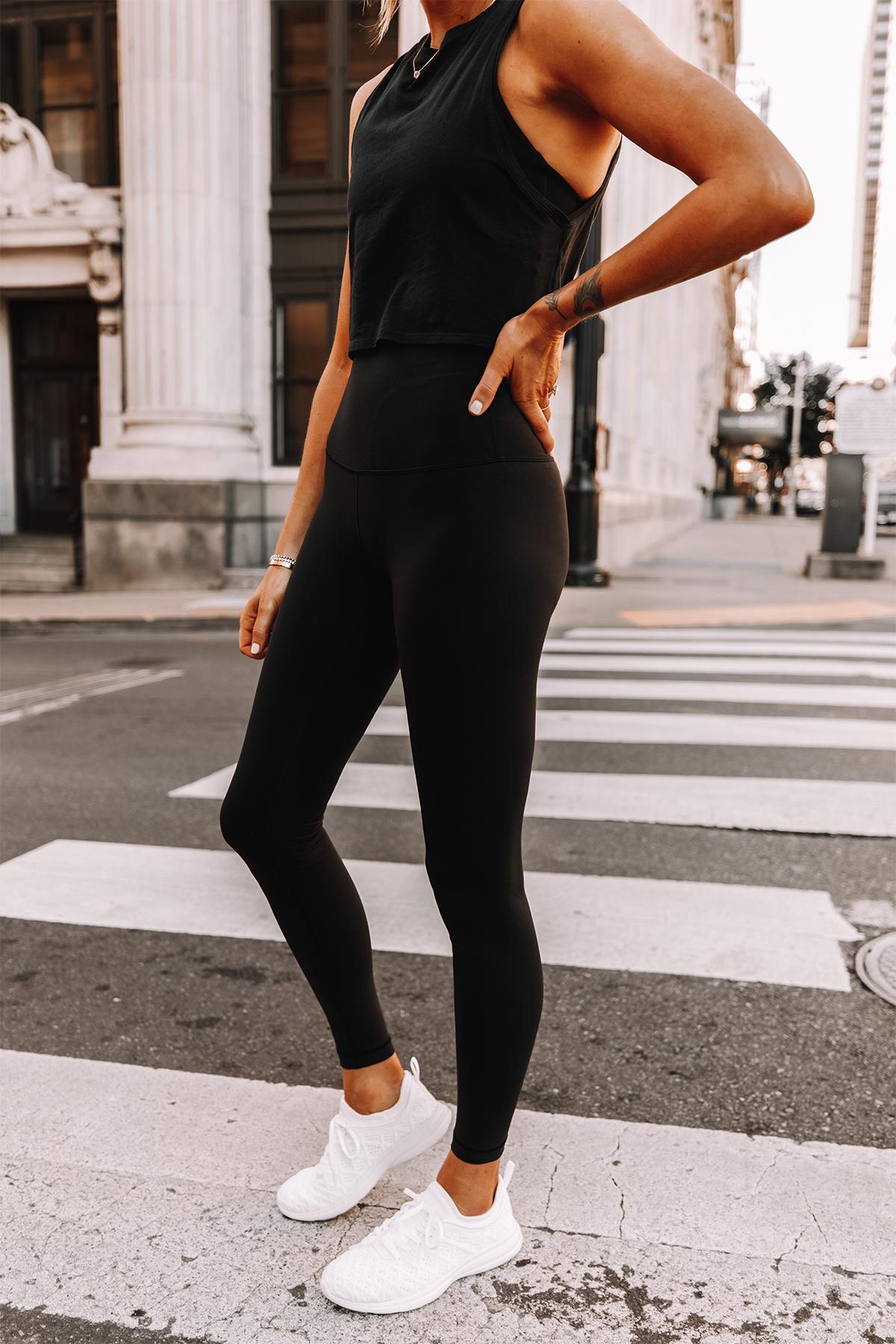 Fashion Jackson Wearing lululemon Black Tank Black Leggings White Sneakers