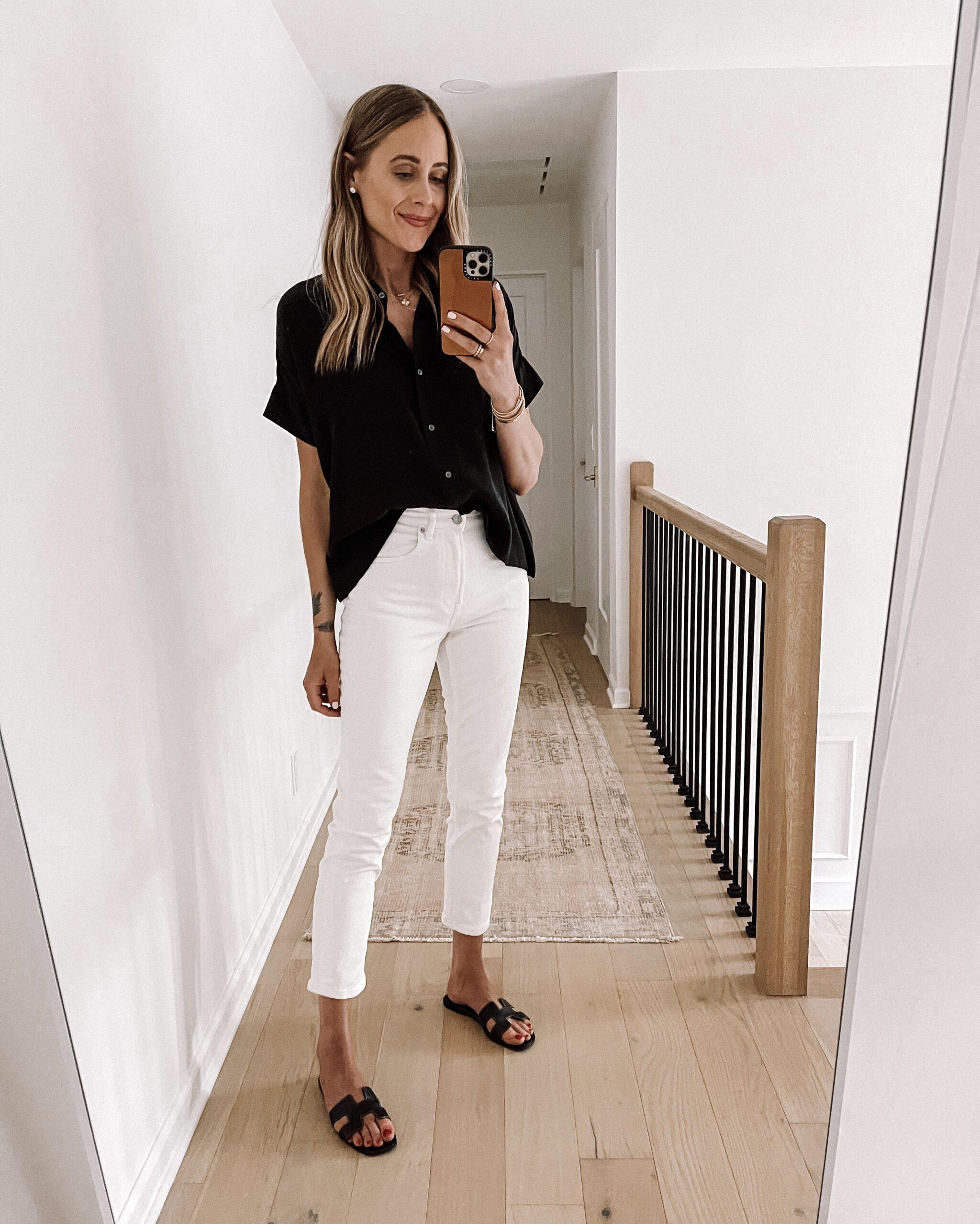 Fashion Jackson Wearing Everlane Black Button Up Shirt Everlane White Jeans Black Sandals Everlane Summer Outfit