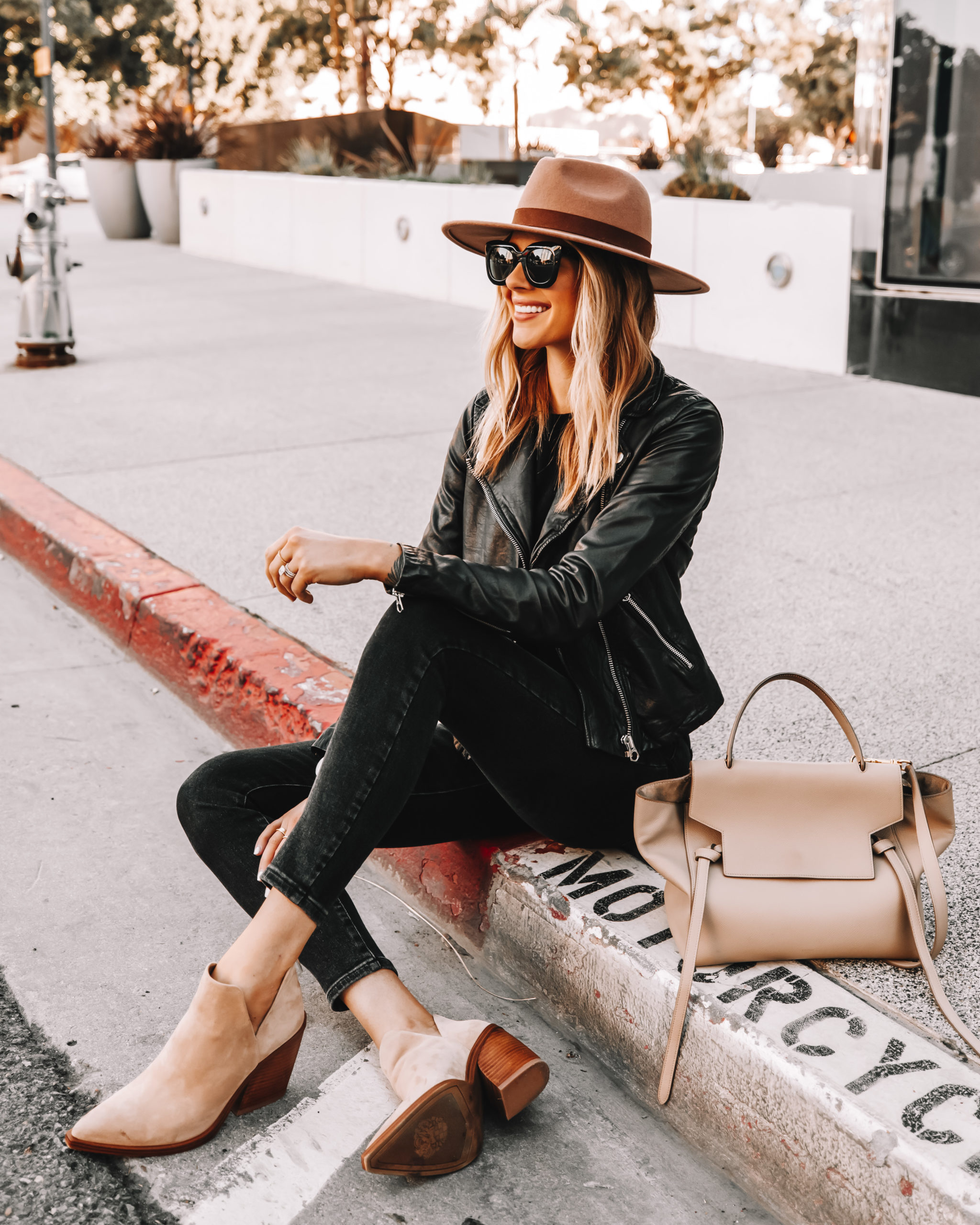 Fashion Jackson Wearing Brown Hat Black Leather Jacket Black Skinny Jeans Tan Suede Booties