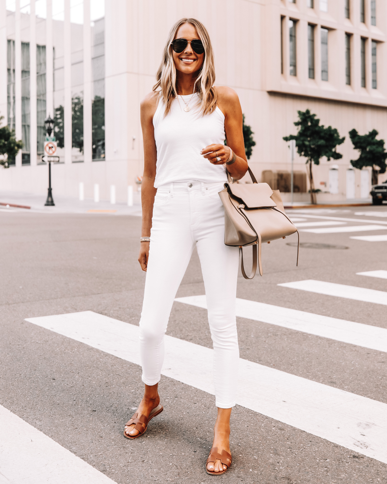 Fashion Jackson Wearing Everlane White Tank Everlane White Skinny Jeans Hermes Sandals