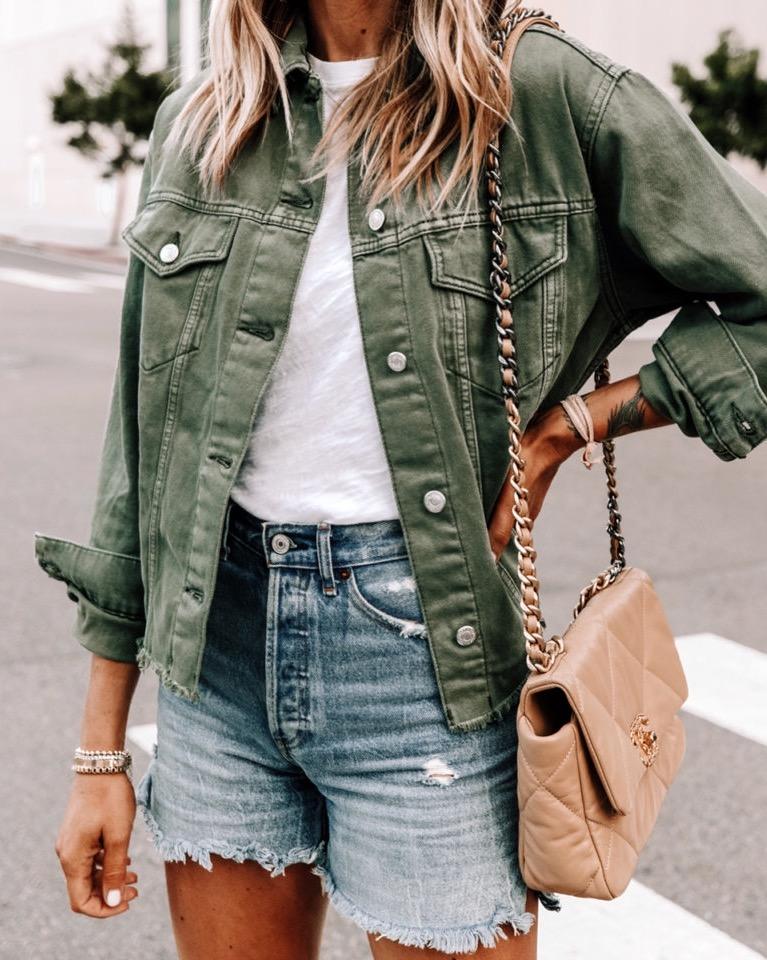 Fashion Jackson Wearing Topshop Olive Green Denim Jacket