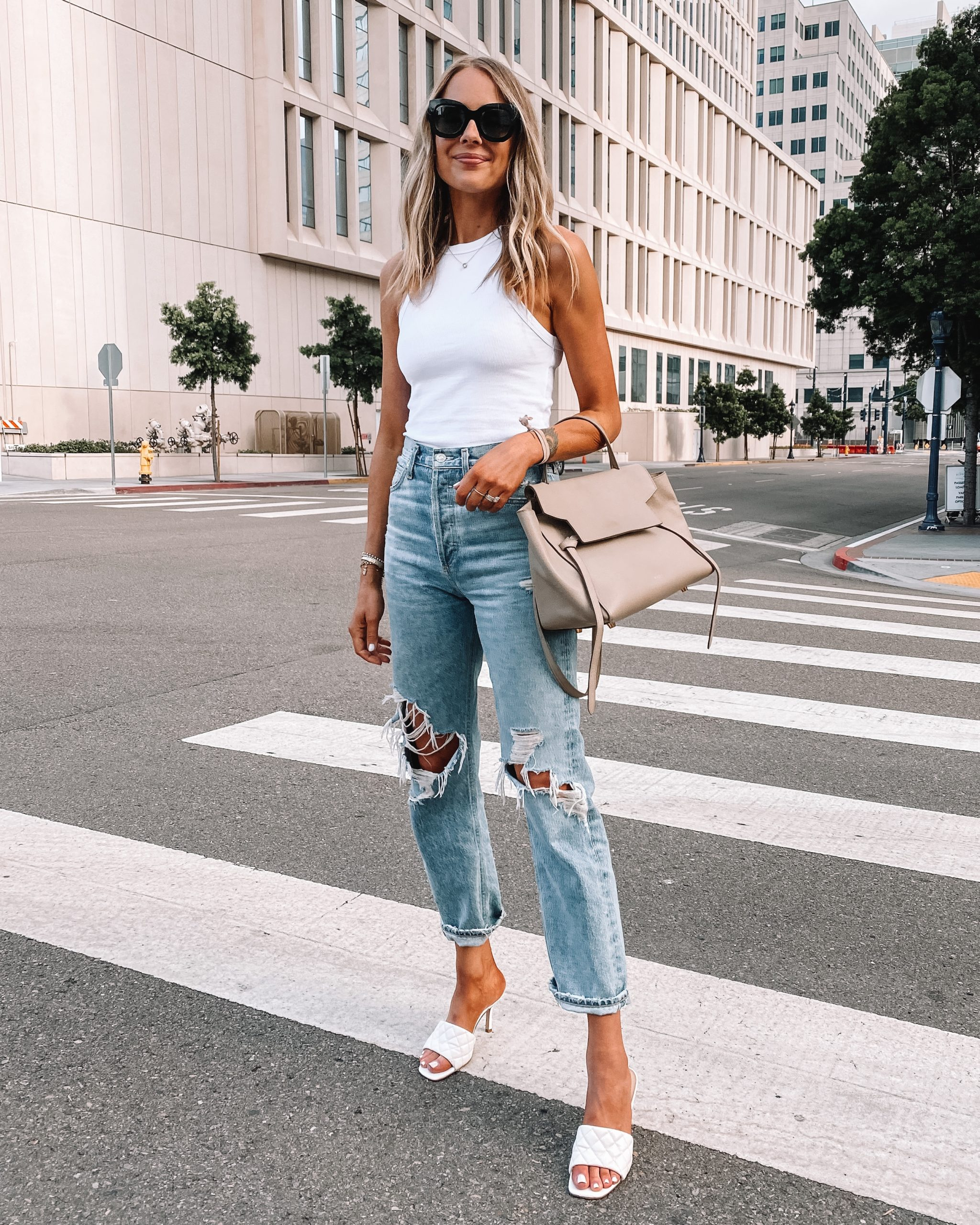 Fashion Jackson Wearing Anine Bing White Tank Agolde Ripped Jeans White Heeled Sandals