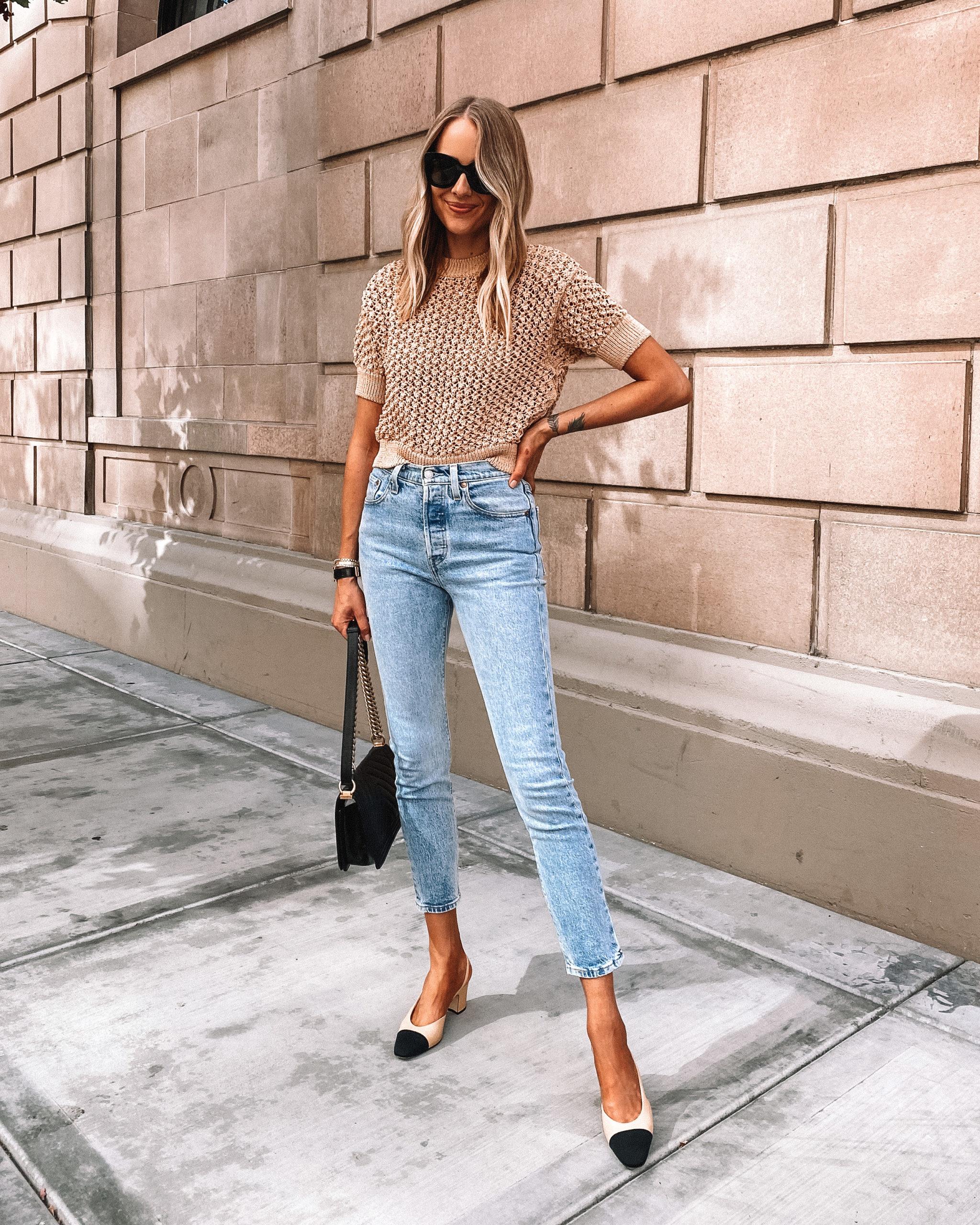 Fashion Jackson Wearing Mango Textured Sweater Levis 501 Jeans Chanel Slingbacks
