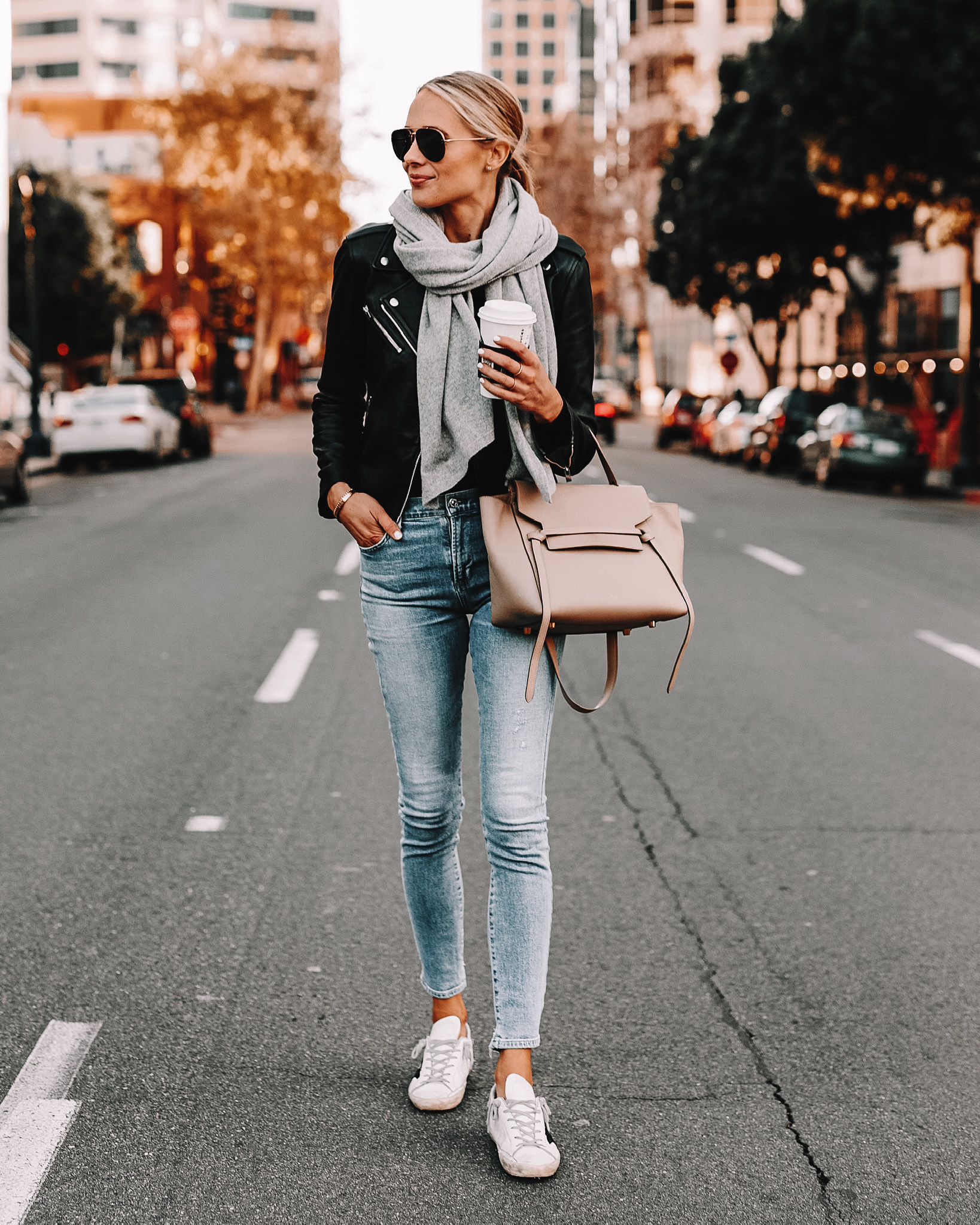 Fashion Jackson Wearing Black Leather Jacket Denim Skinny Jeans Grey Scarf Golden Goose Sneakers