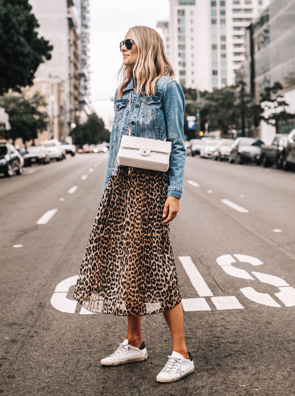 Fashion Jackson Denim Jacket Leopard Maxi Dress Golden Goose Sneakers