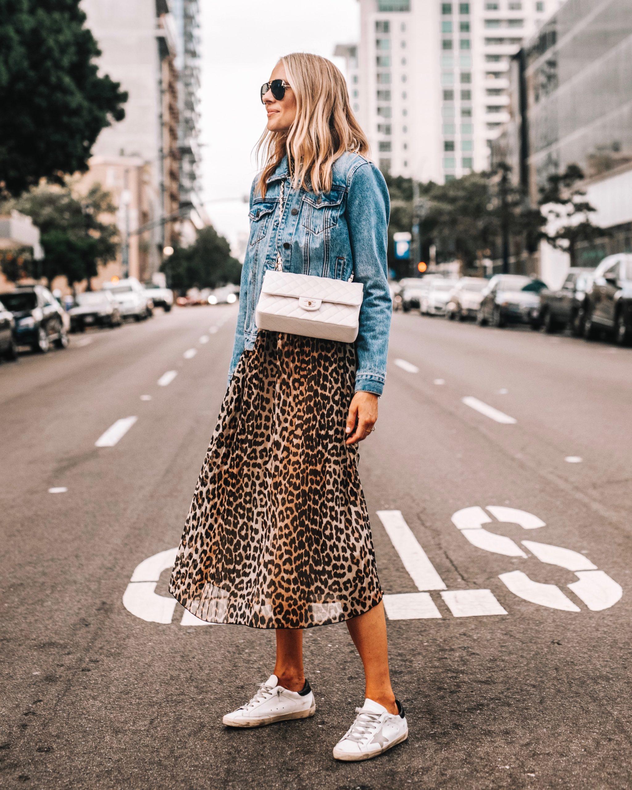 Fashion Jackson Ganni Leopard dress denim jacket golden goose sneakers