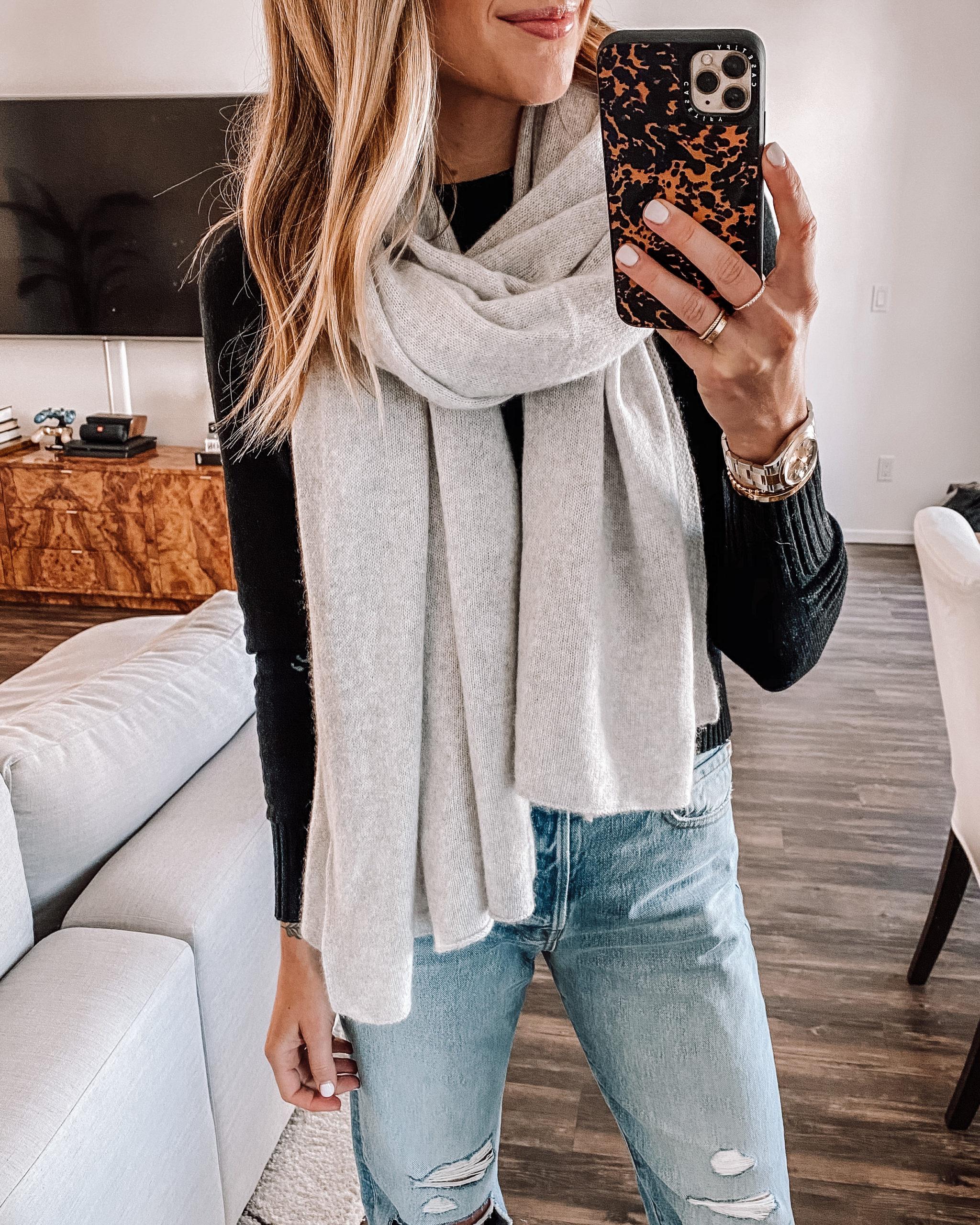 Fashion Jackson Grey Cashmere Scarf