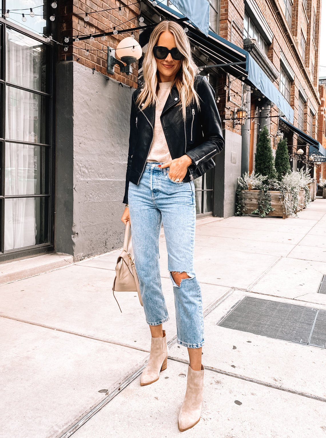 Fashion Jackson Nordstrom Annivesrary Sale Topshop Black Leather Jacket Topshop Ripped Jeans Marc Fisher Tan Suede Booties