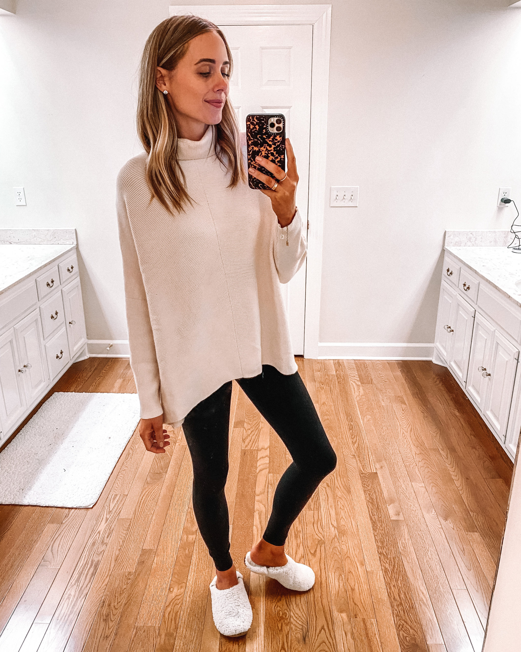 Fashion Jackson Wearing Amazon Fashion White Tunic Sweater Black Leggings