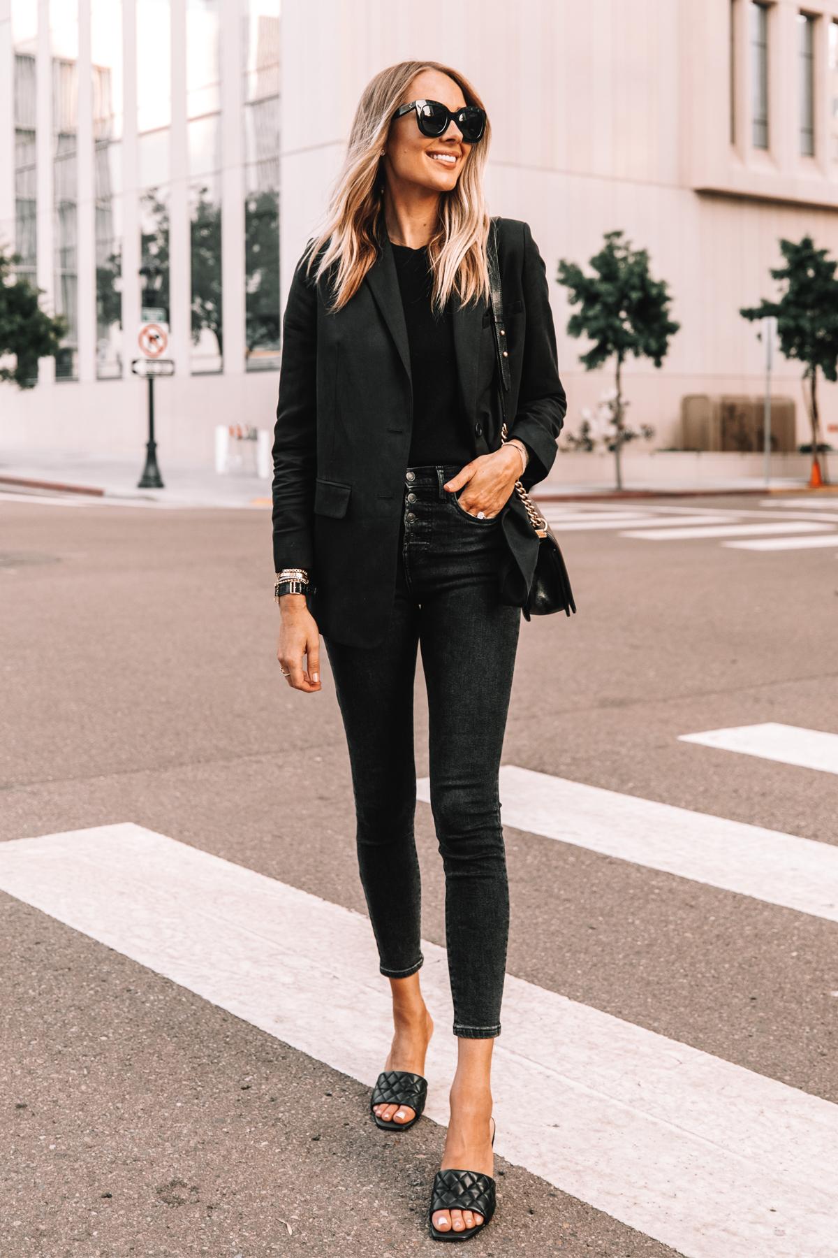 Fashion Jackson Wearing Everlane Black Blazer Everlane Black Skinny Jeans Black Heeled Sandals 2