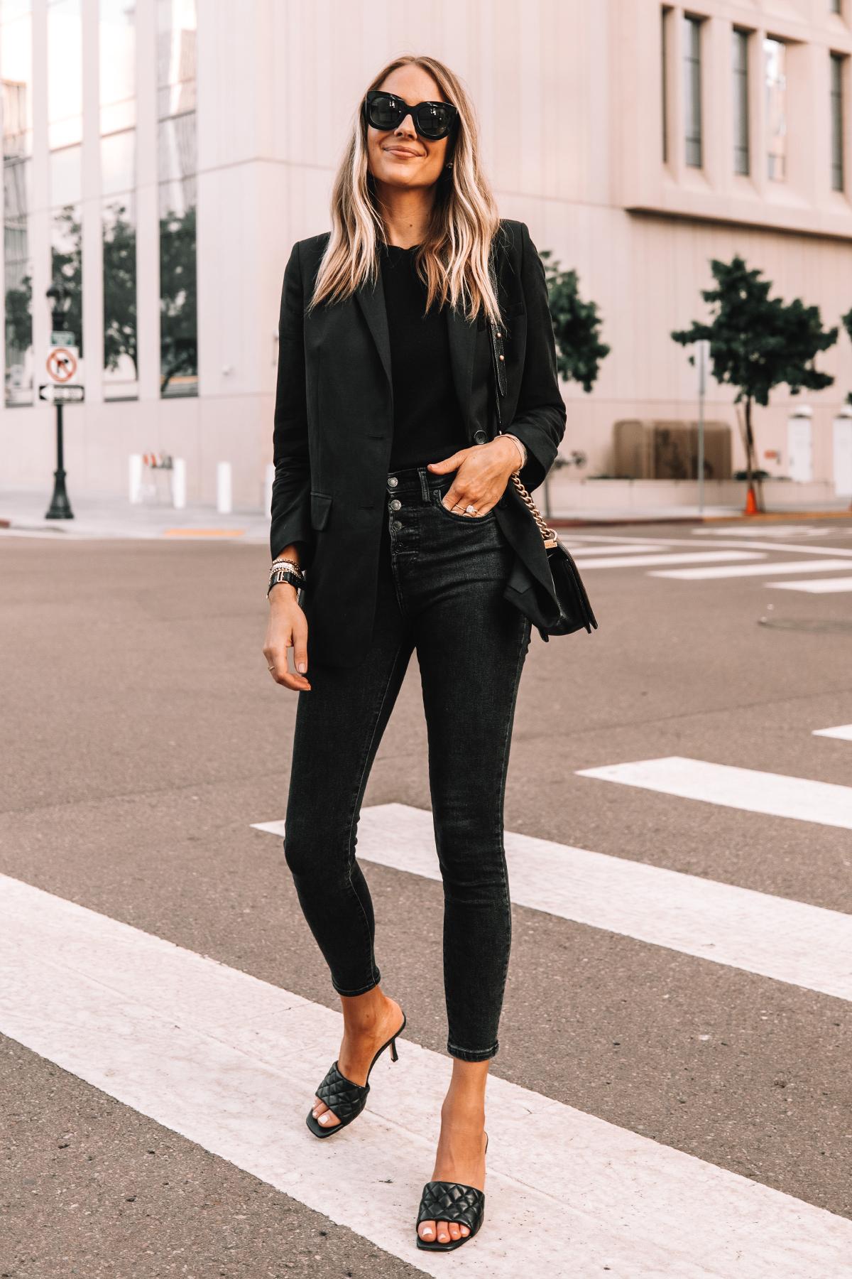 Fashion Jackson Wearing Everlane Black Blazer Everlane Black Skinny Jeans Black Heeled Sandals 3