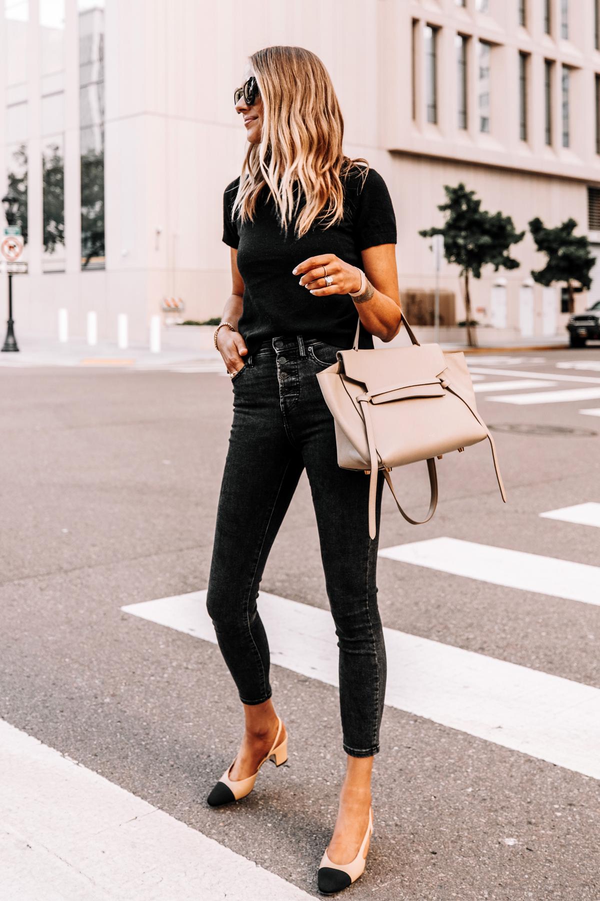 Fashion Jackson Wearing Everlane Black Short Sleeve Sweater Everlane Black Skinny Jeans Chanel Slingbacks Celine Belt Bag 1