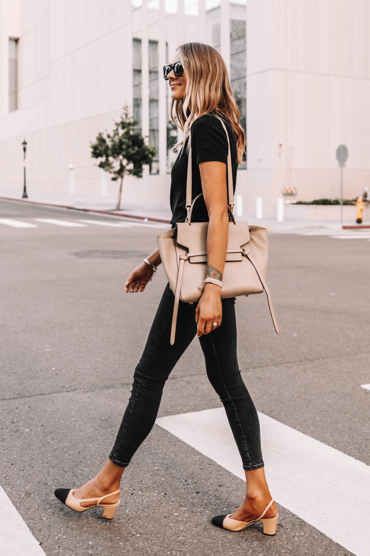 Fashion Jackson Wearing Everlane Black Short Sleeve Sweater Everlane Black Skinny Jeans Chanel Slingbacks Celine Belt Bag 2