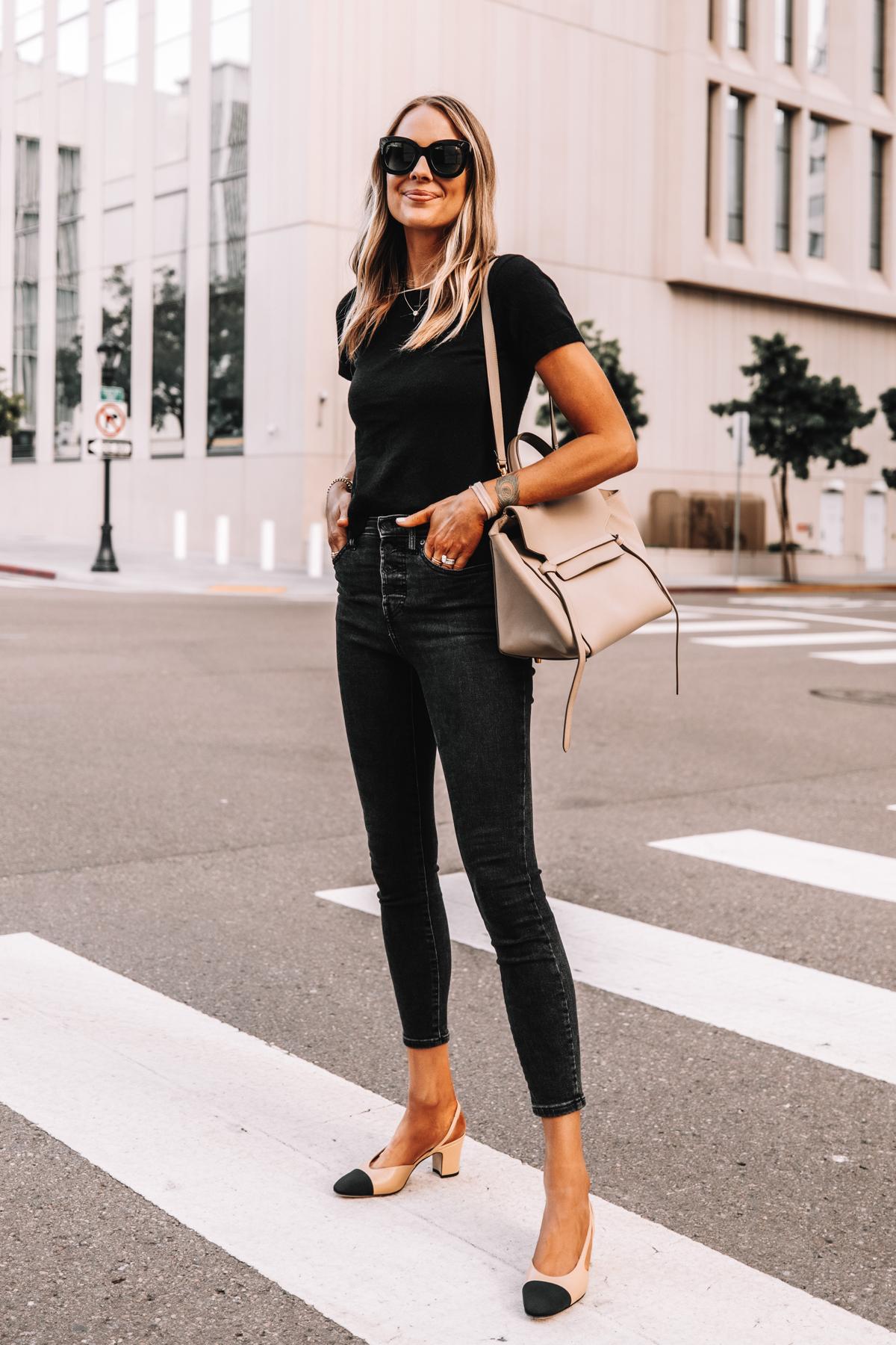 Fashion Jackson Wearing Everlane Black Short Sleeve Sweater Everlane Black Skinny Jeans Chanel Slingbacks Celine Belt Bag