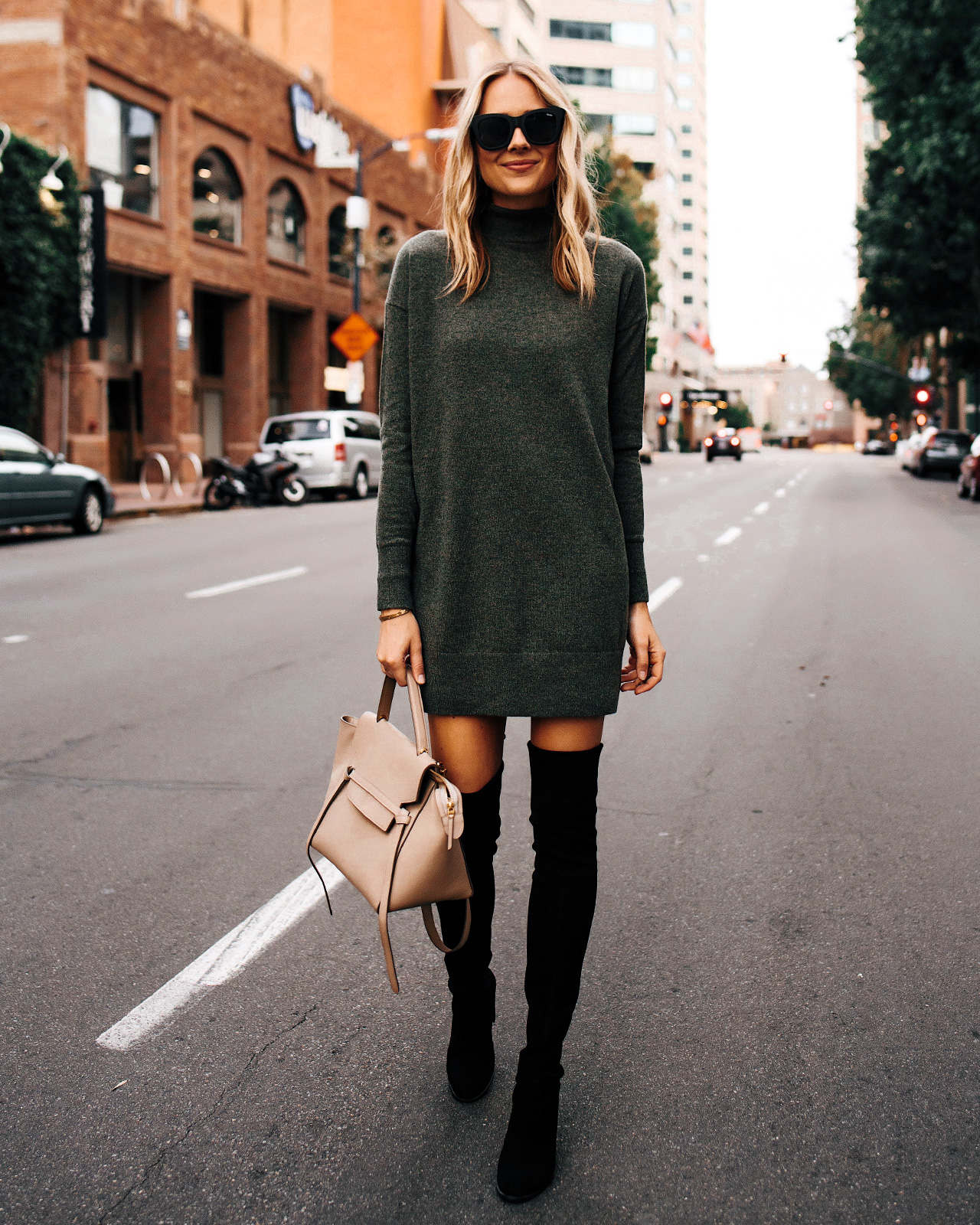 Fashion Jackson Wearing Everlane Green Sweater Dress Black Over the Knee Boots