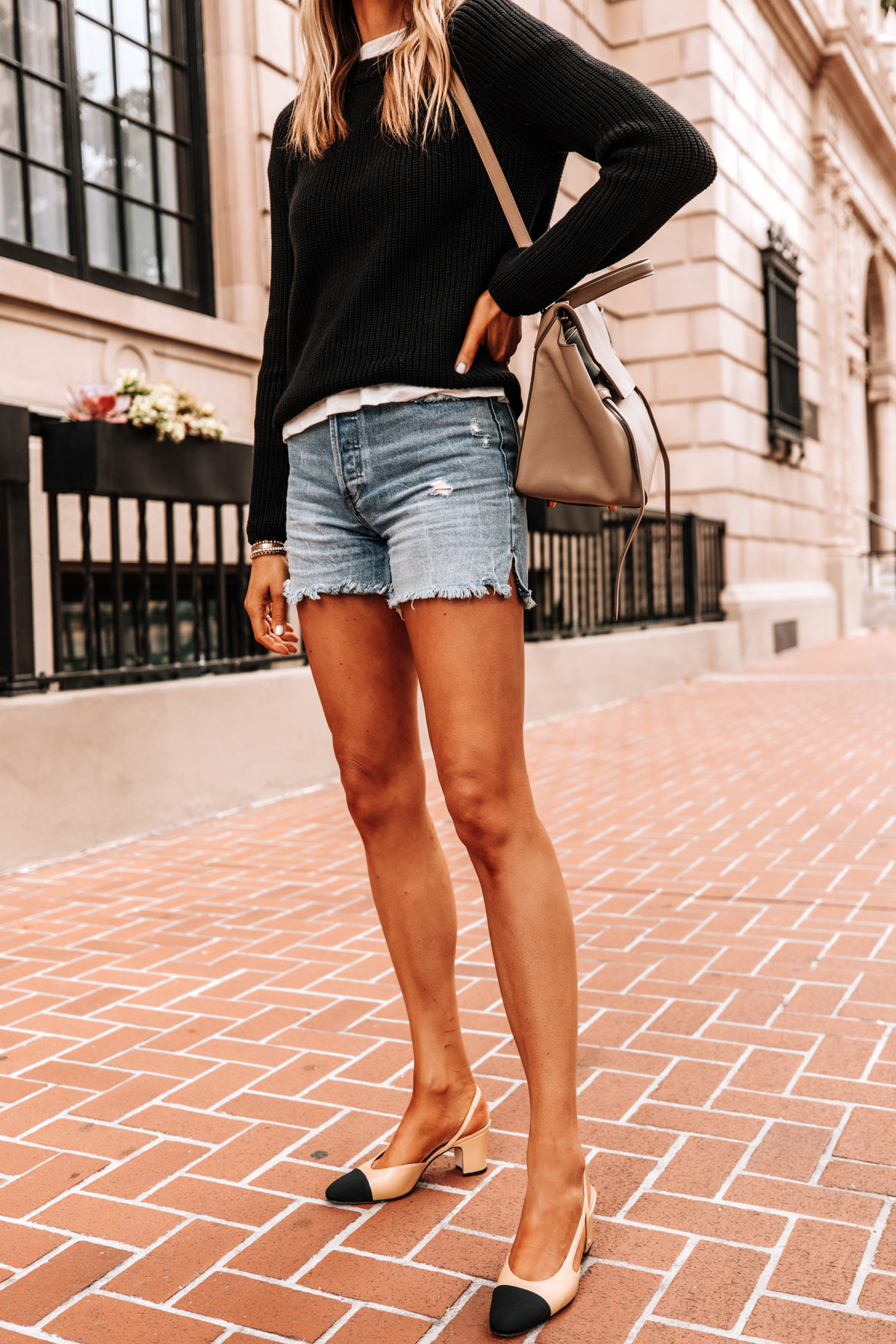 Fashion Jackson Wearing Jenni Kayne Black Fisherman Sweater Denim Shorts Chanel Slingbacks 1