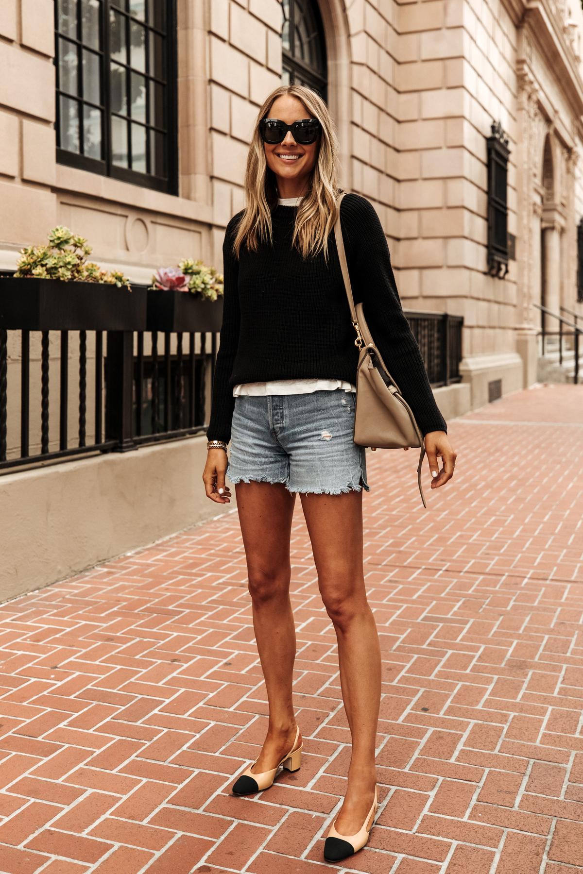 Fashion Jackson Wearing Jenni Kayne Black Fisherman Sweater White Tshirt Denim Shorts Chanel Slingbacks Outfit