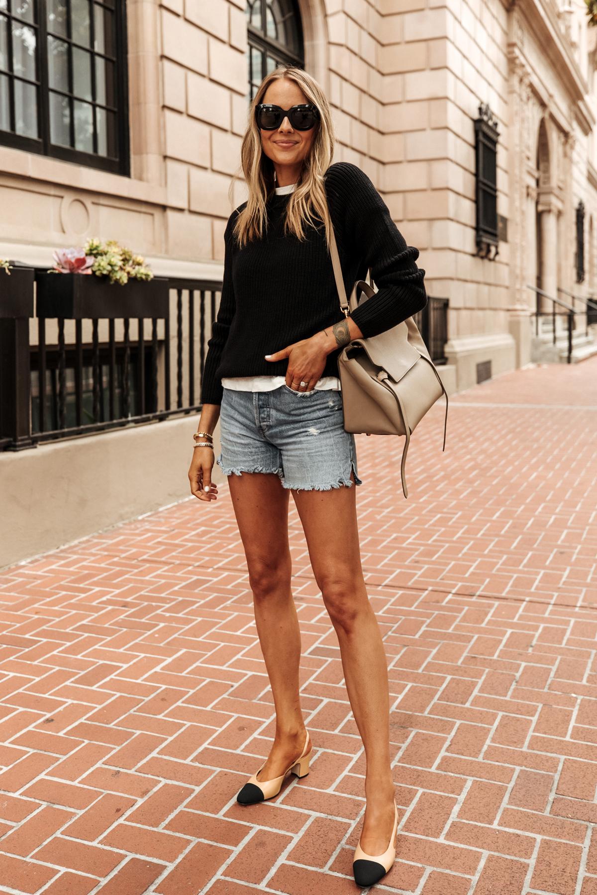 Fashion Jackson Wearing Jenni Kayne Black Fisherman Sweater White Tshirt Denim Shorts Chanel Slingbacks Outfit 3