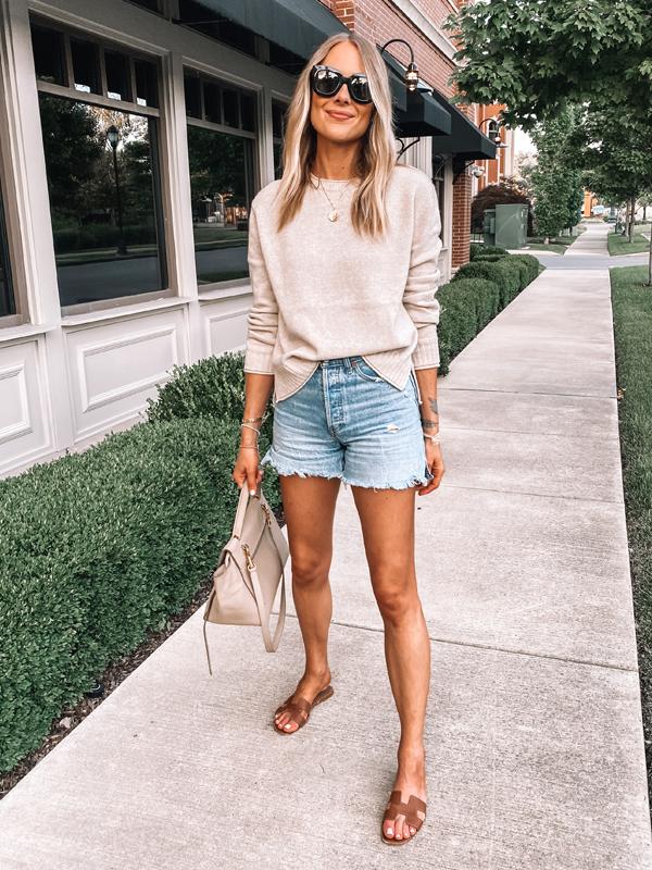 Fashion Jackson Wearing Jenni Kayne Everyday Sweater Denim Shorts Hermes Sandals