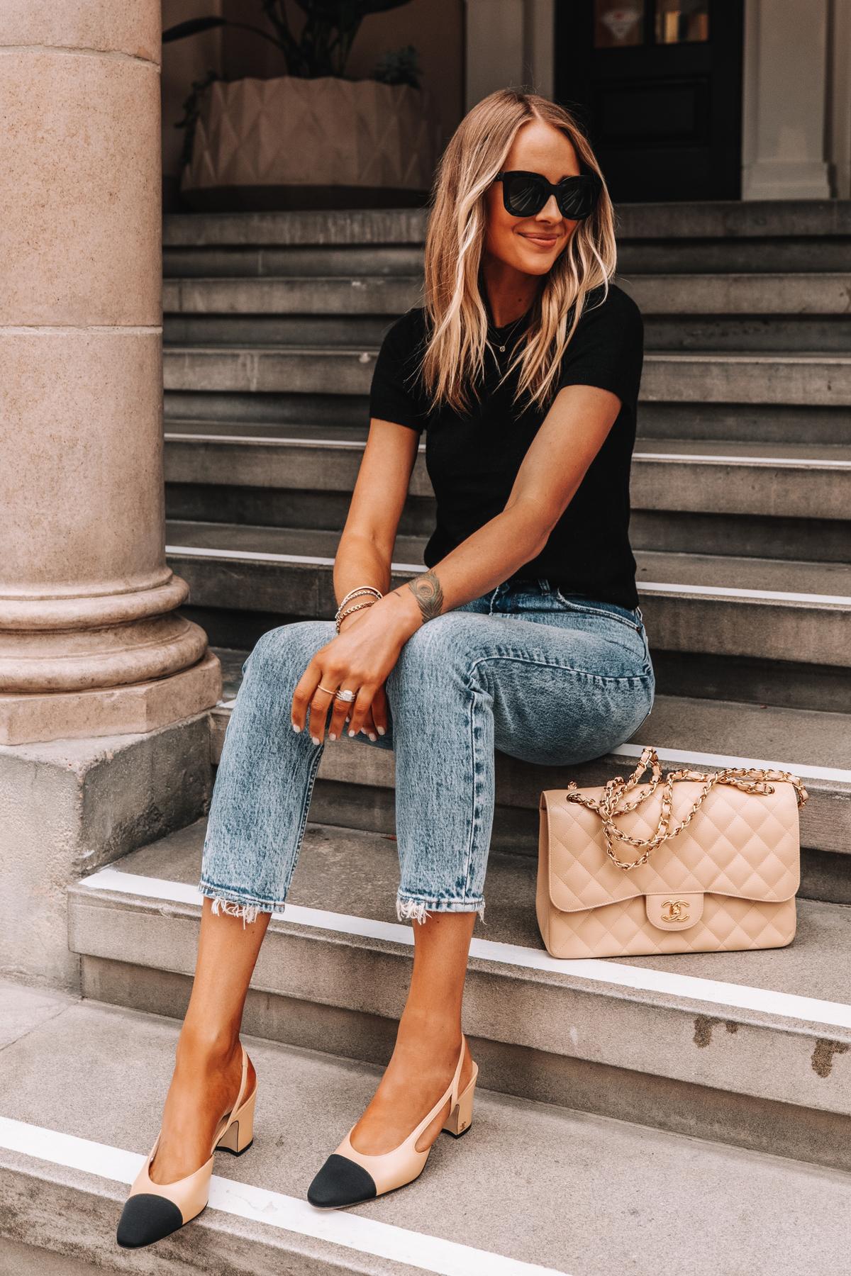 Fashion Jackson Wearing Short Sleeve Black Sweater High Rise Jeans Chanel Slingbacks Chanel Beige Jumbo Handbag 1