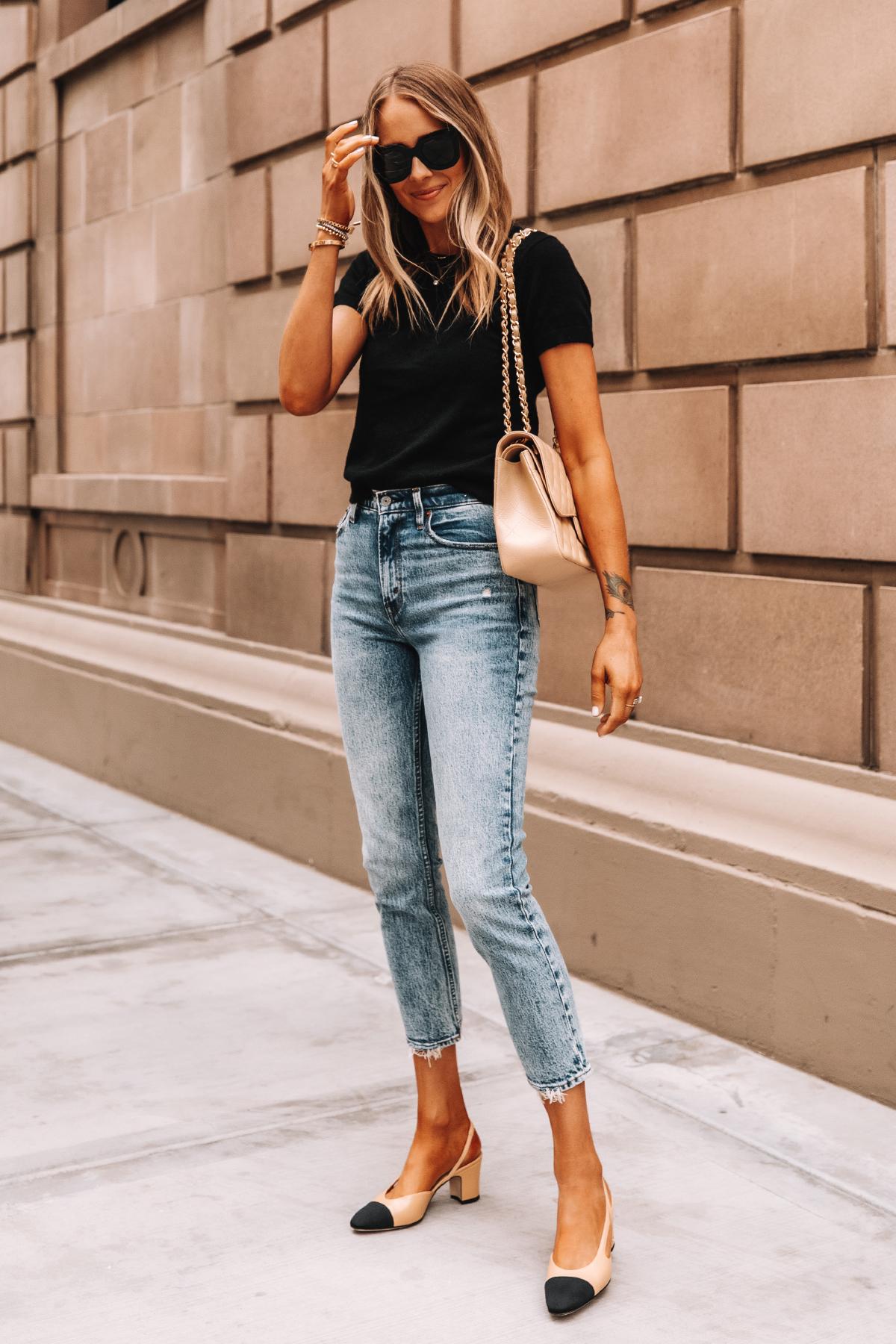 Fashion Jackson Wearing Short Sleeve Black Sweater High Rise Jeans Chanel Slingbacks Chanel Beige Jumbo Handbag