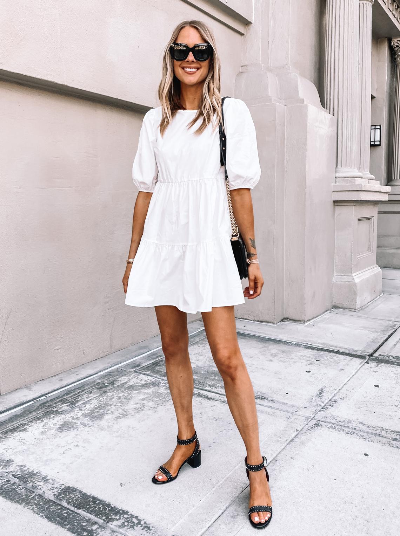 Fashion Jackson Wearing Summer White Puff Sleeve Dress Givenchy Black Sandals