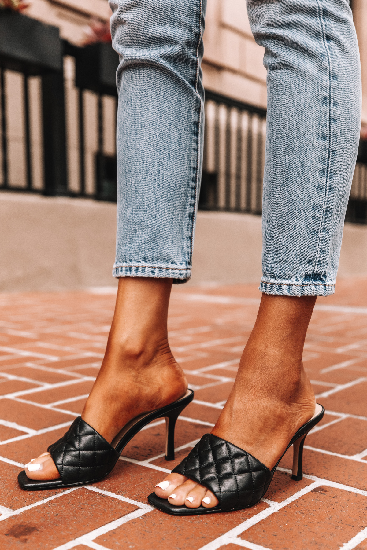 Fashion Jackson Wearing Villa Rouge Black Viva Mules Quilted Heeled Sandals