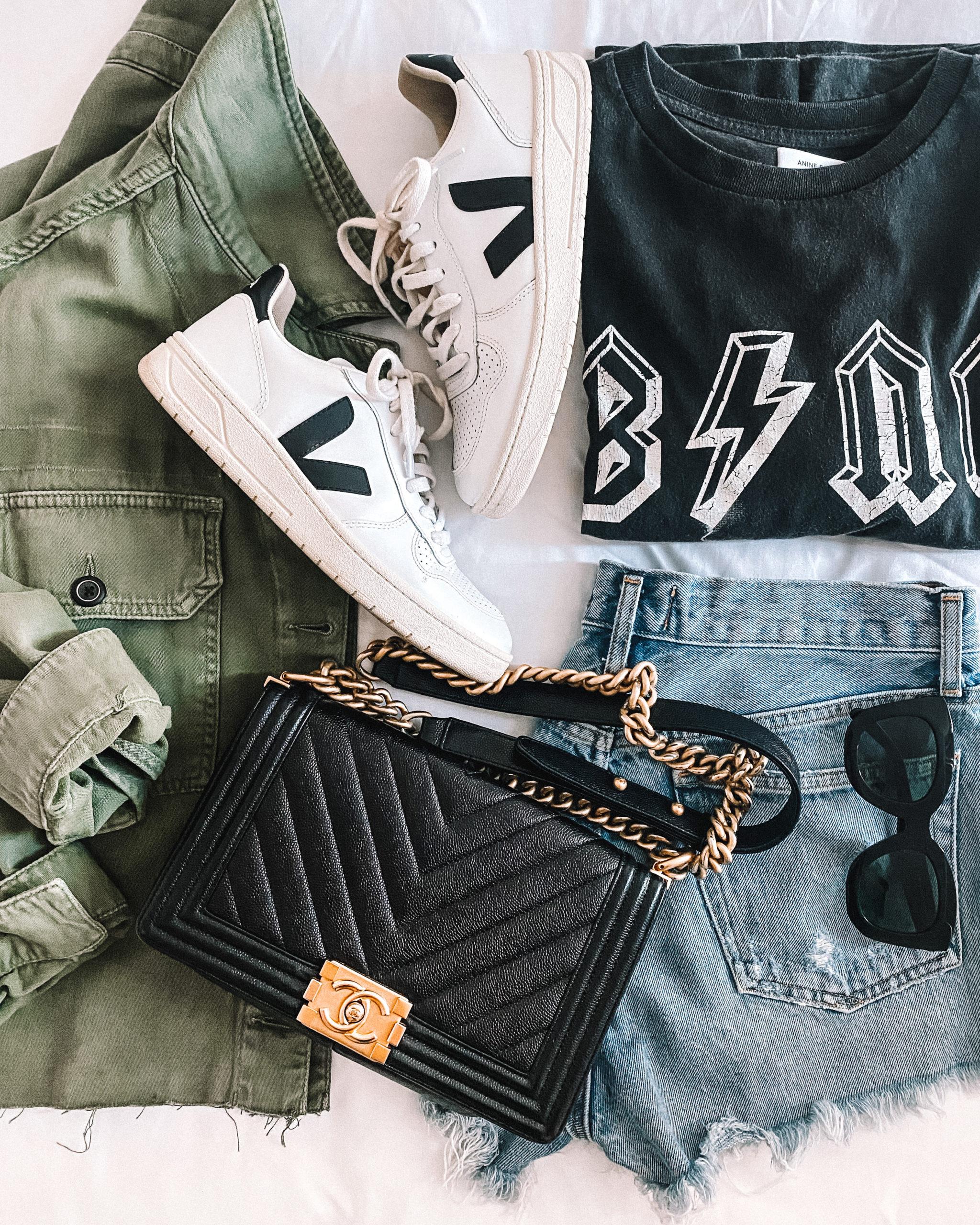 Fashion jakson anine bing tshirt ripped jeans veja sneakers chanel boy bag