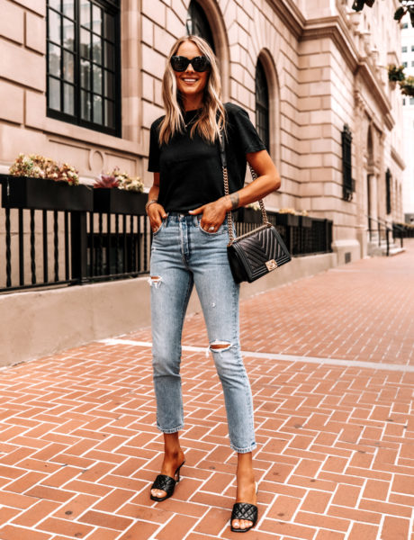 Anine Bing's Plain Black T-Shirt With Blue Jeans Outfit