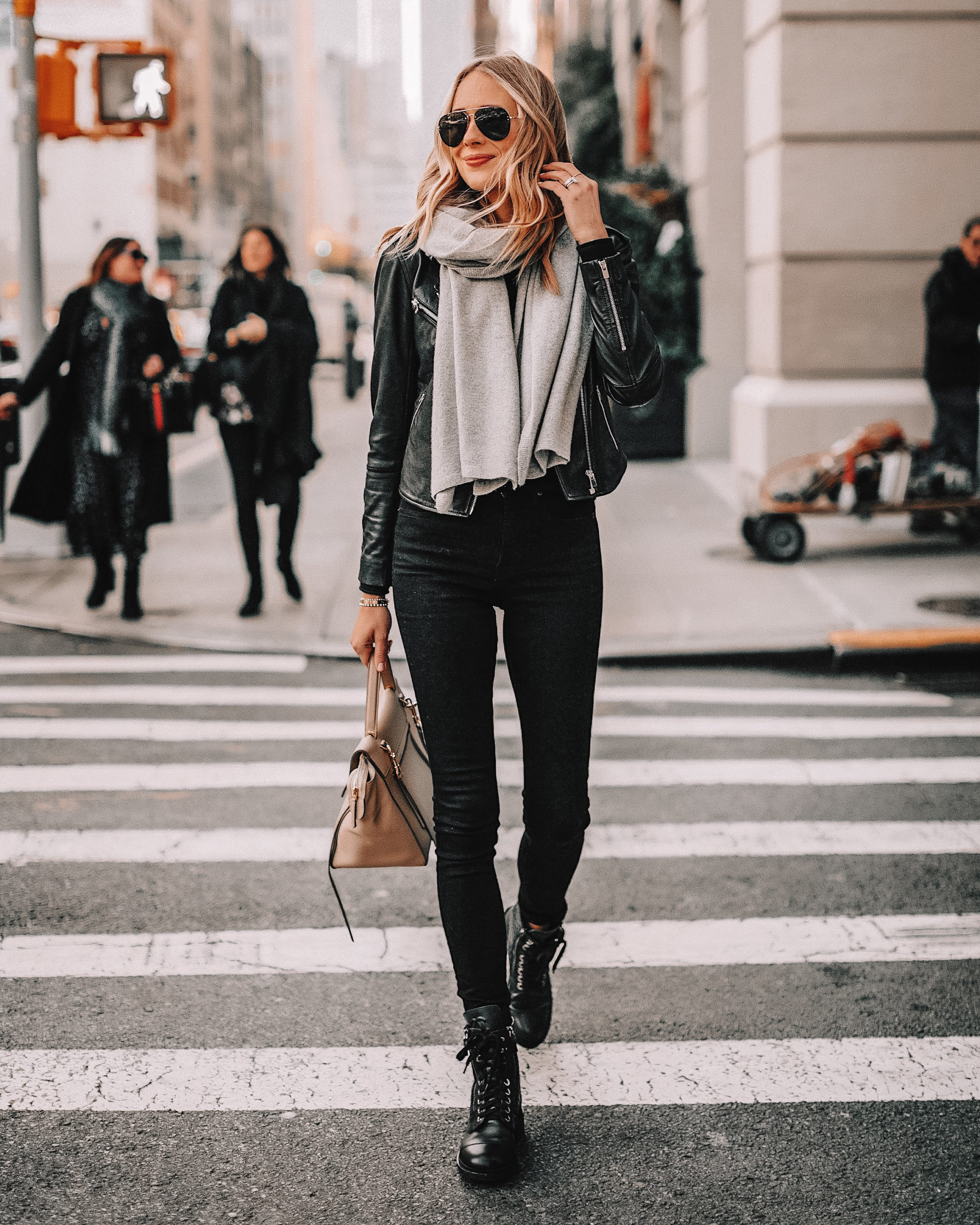 Fashion Jackson Wearing Black Leather Jacket Black Skinny Jeans Grey Scarf Black Chanel Combat Boots