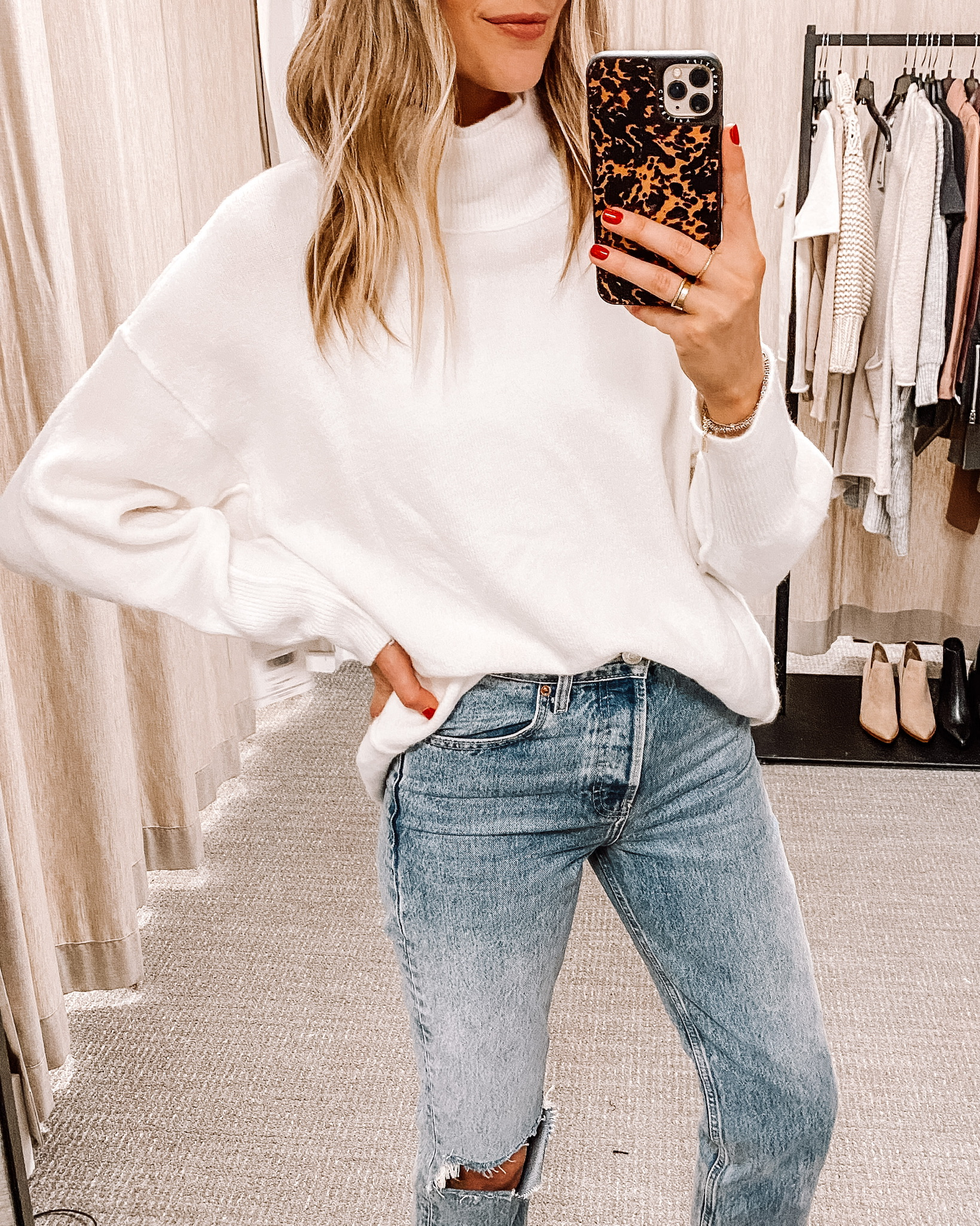 Fashion Jackson Nordstrom Anniversary Sale Free People Afterglow Mock Neck Top White Tunic Sweater Dressing Room Outfits