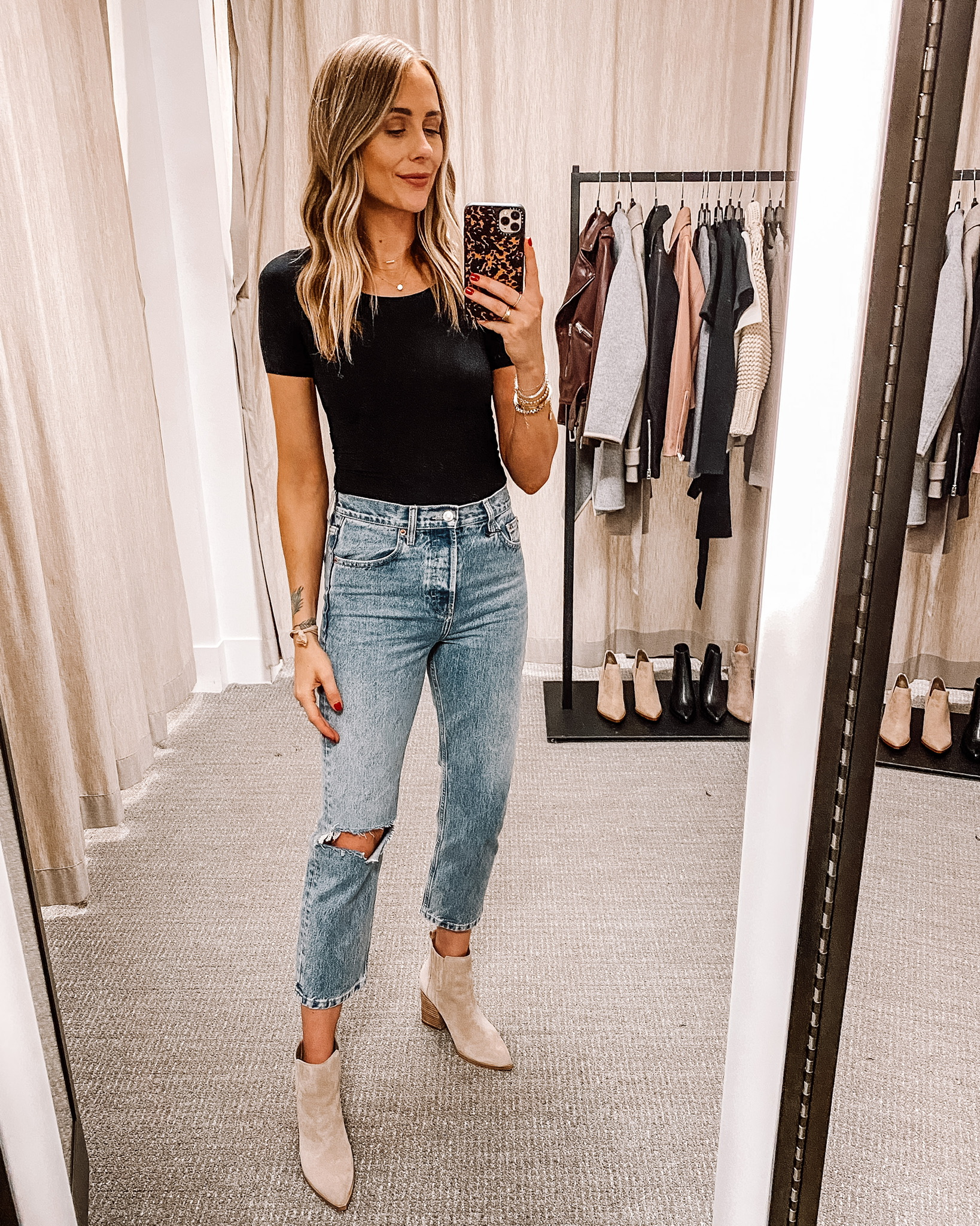 Fashion Jackson Nordstrom Anniversary Sale Commando Butter Bodysuit Topshop Ripped Jeans Marc Fisher Tan Suede Booties