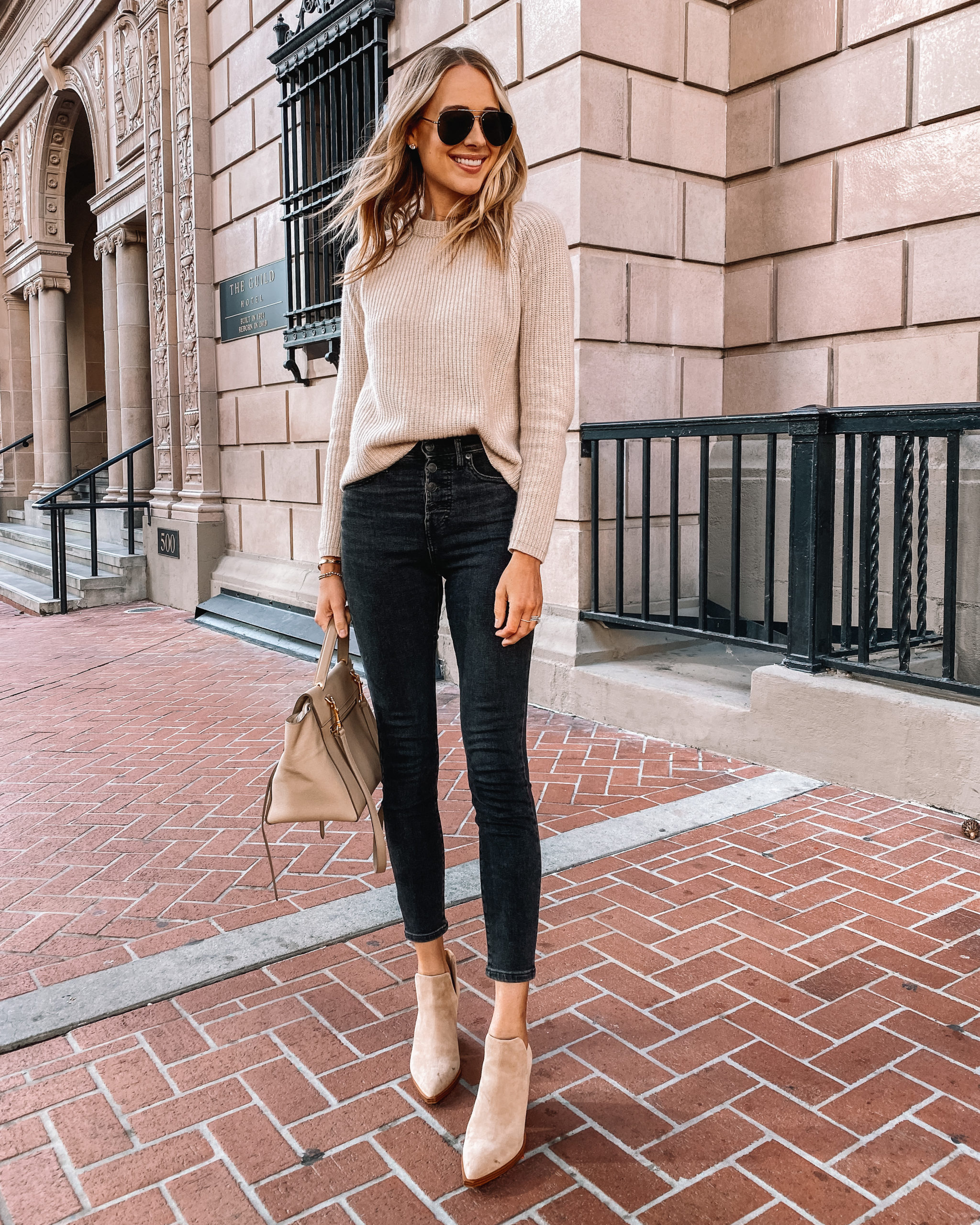 Fashion Jackson Wearing Jenni Kayne Cashmere Sweater Black Skinny Jeans Tan Suede Booties