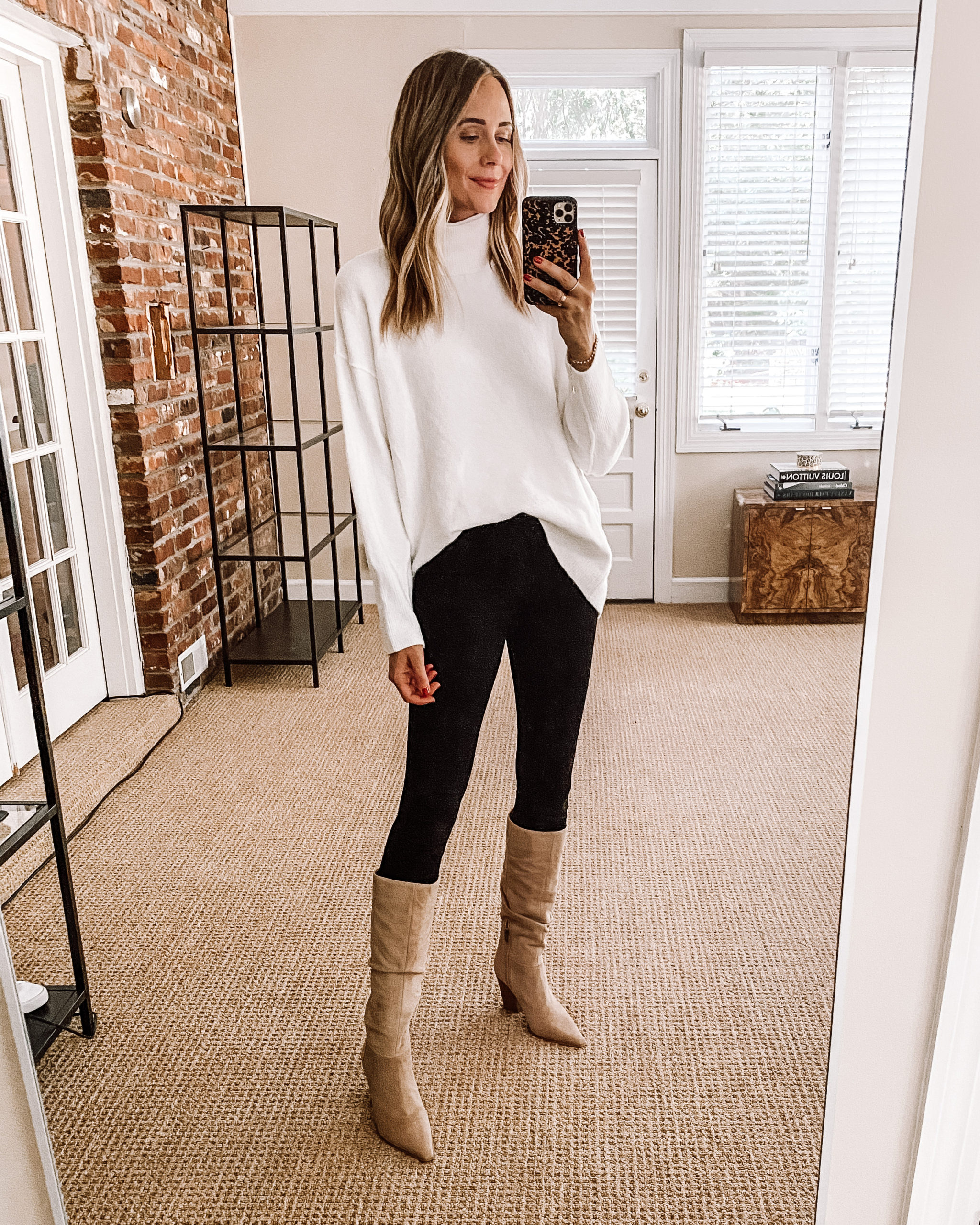 Fashion Jackson Nordstrom Anniversary Sale Free People Afterglow Mock Neck Top White Tunic Sweater Black Jeans Tan Suede Boots