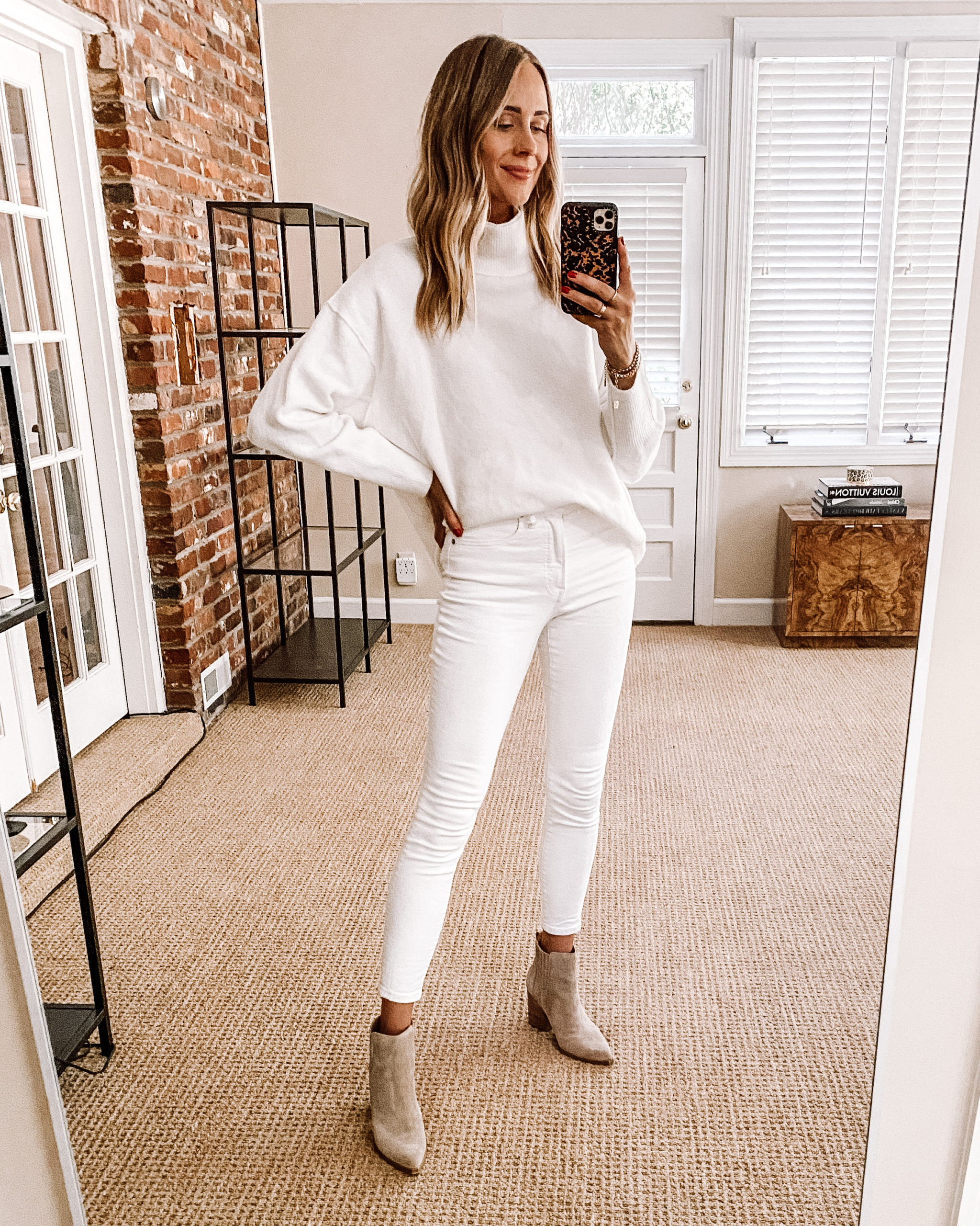 Fashion Jackson Nordstrom Anniversary Sale Free People Afterglow Mock Neck Top White Tunic Sweater White Skinny Jeans Suede Booties