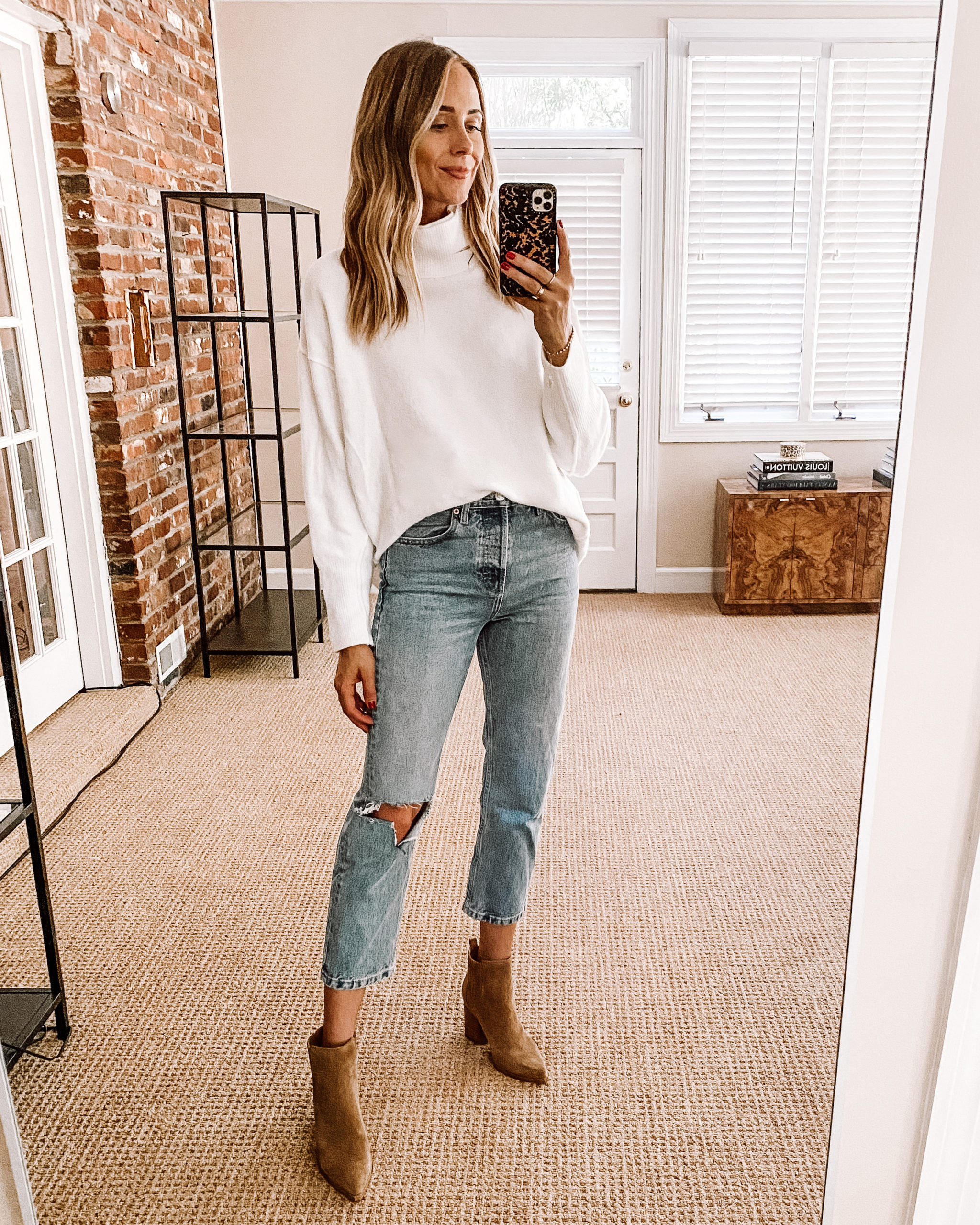 Fashion Jackson Nordstrom Anniversary Sale Free People Afterglow Mock Neck Top White Tunic Sweater Topshop Ripped Jeans Tan Booties