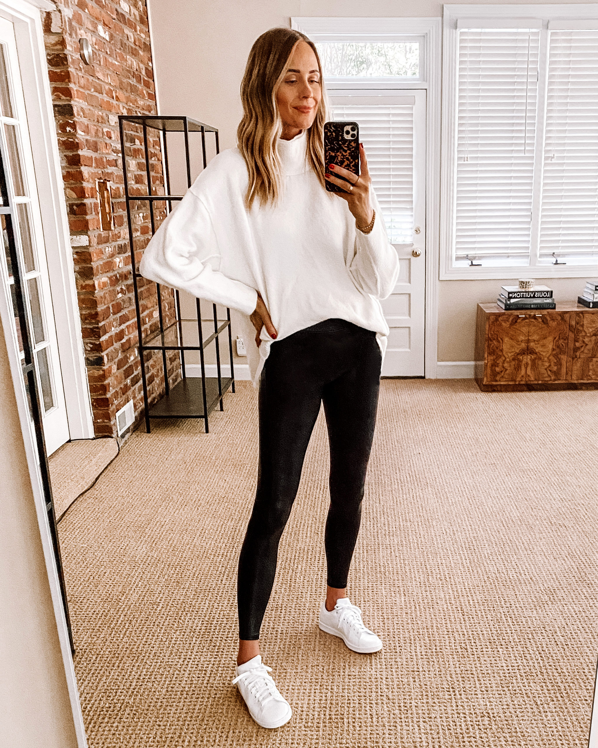 Fashion Jackson Nordstrom Anniversary Sale Free People Afterglow Mock Neck Top White Tunic Sweater Black Spanx adidas White Sneakers