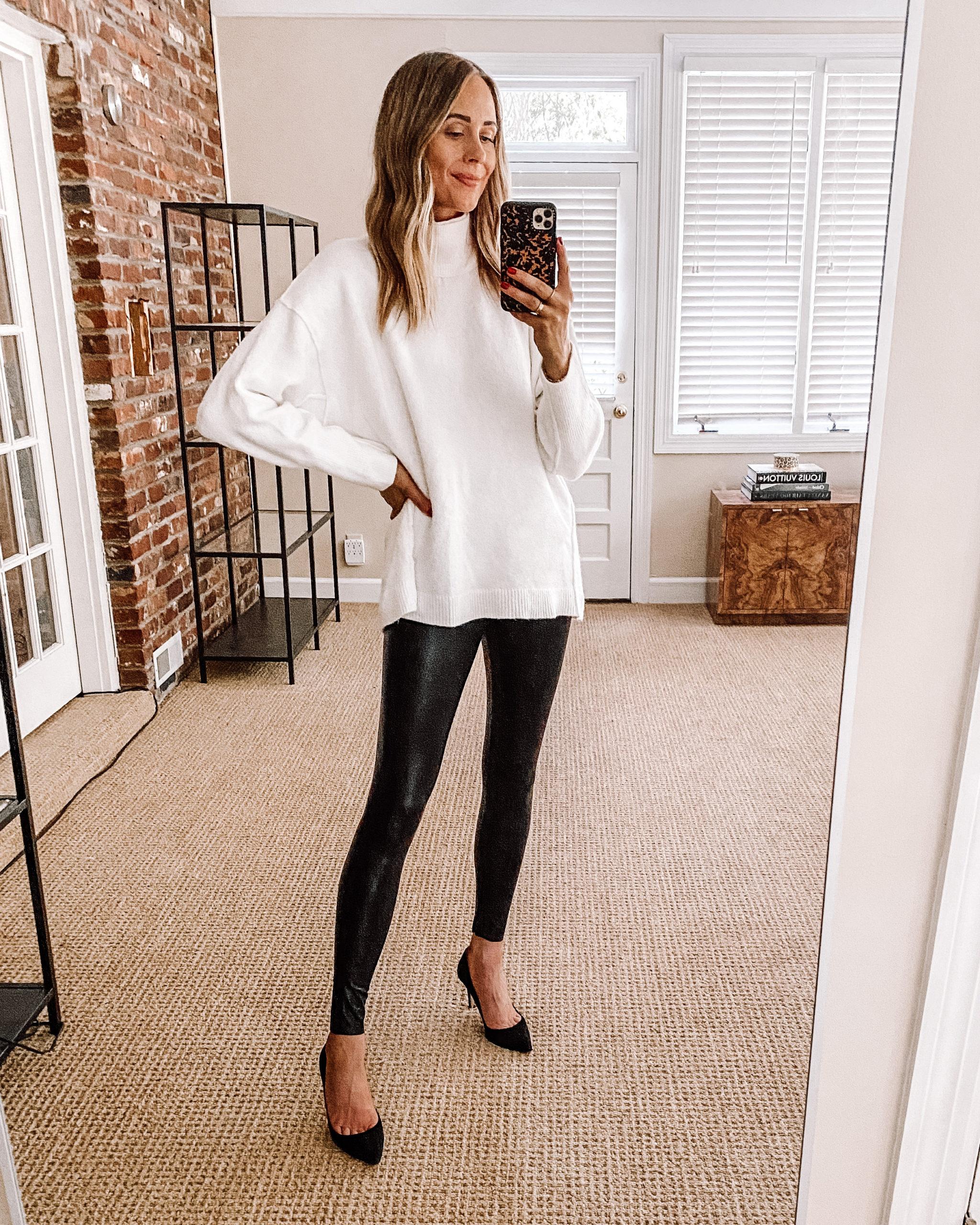 Fashion Jackson Nordstrom Anniversary Sale Free People Afterglow Mock Neck Top White Tunic Sweater Commando Leggings Black Pumps