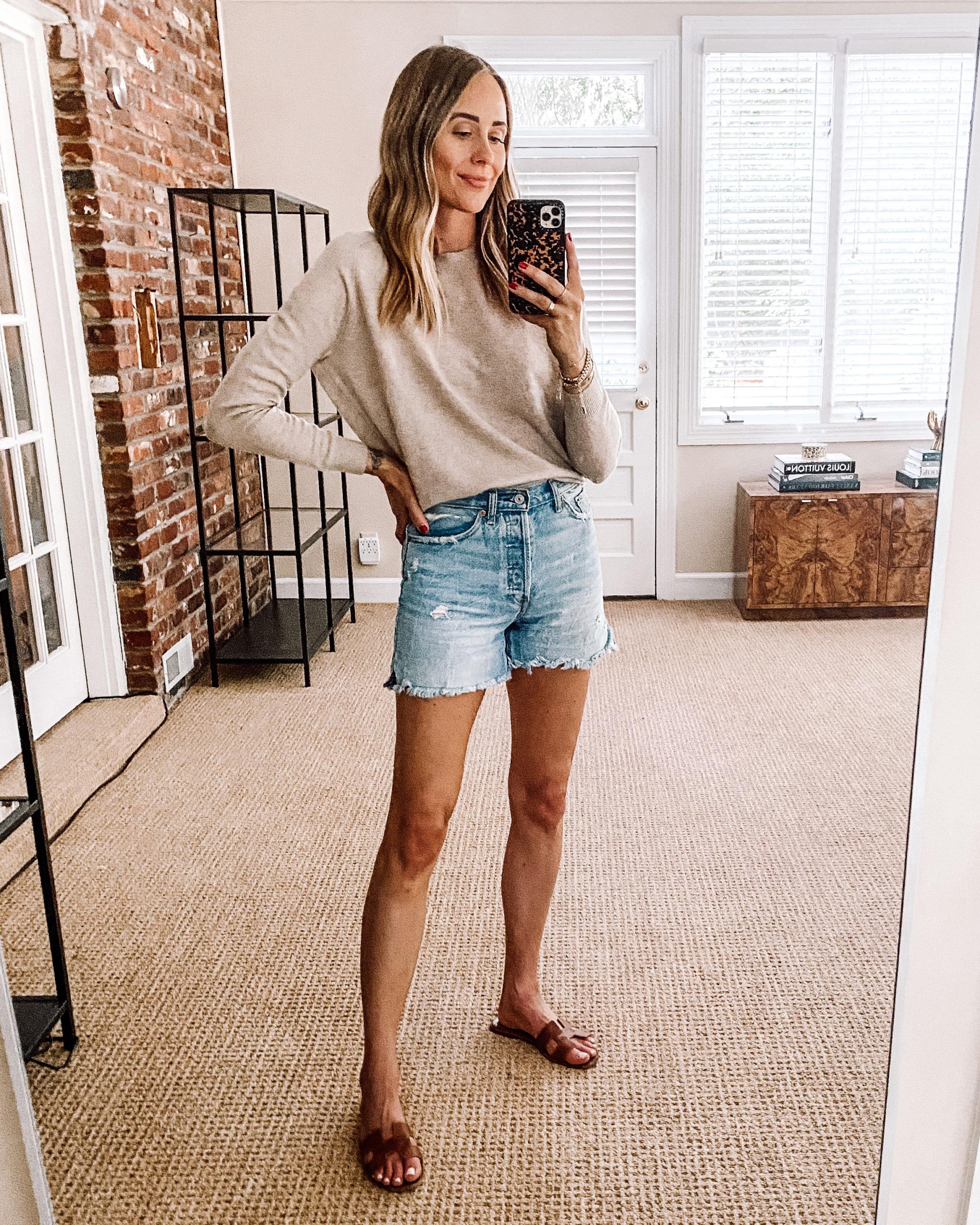 Fashion Jackson Nordstrom Anniversary Sale Vince Cashmere Sweater Denim Shorts
