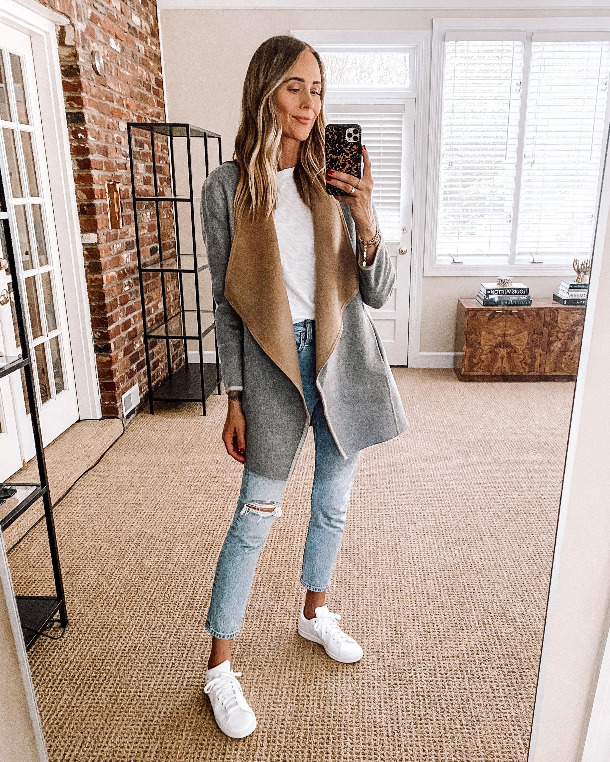 Fashion Jackson Nordstrom Anniversary Sale Reversible Jacket White Tshirt White Ripped Jeans