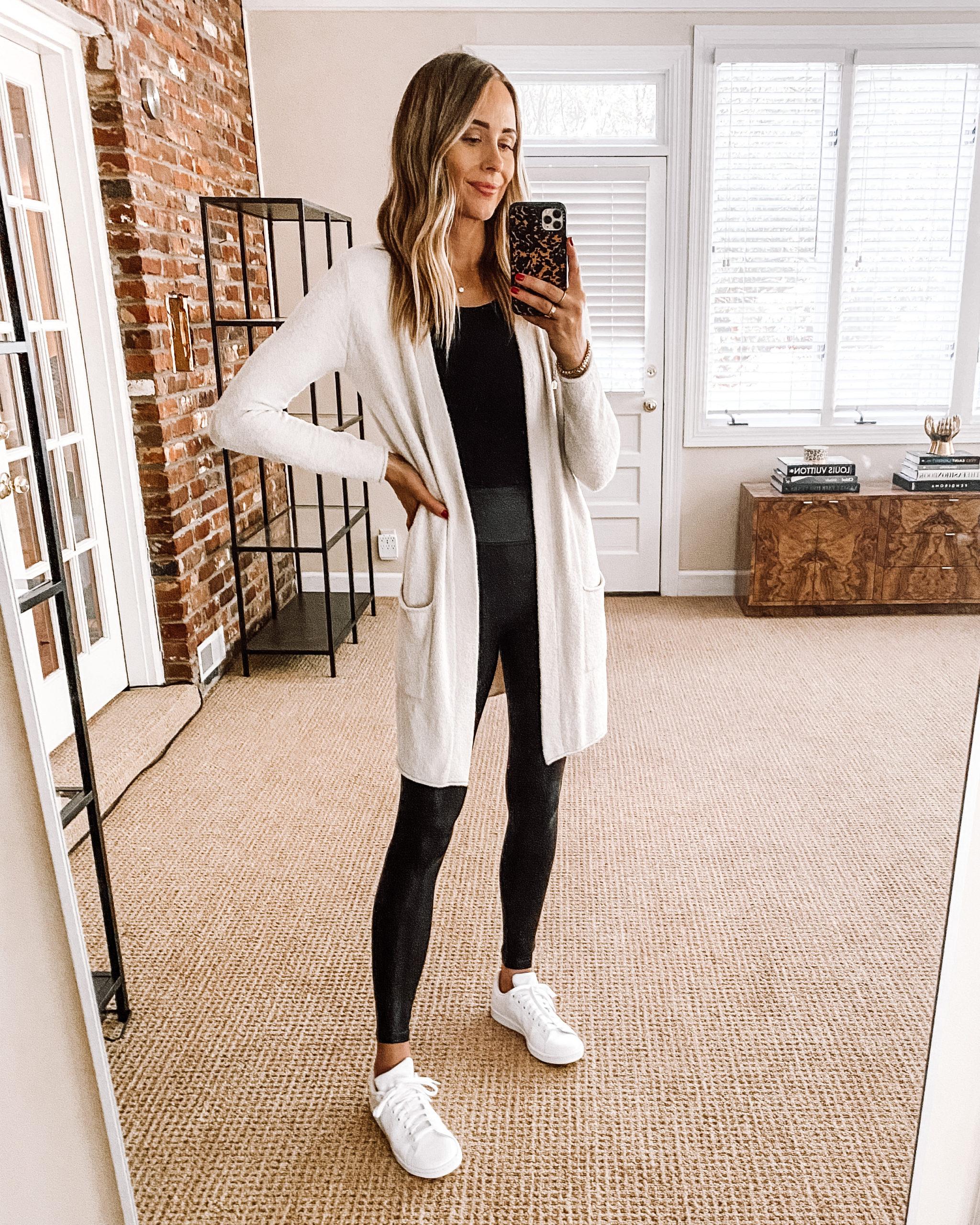 Fashion Jackson Nordstrom Anniversary Sale Barefoot Dreams Cardigan Black Bodysuit Black Spanx Leggings adidas White Sneakers