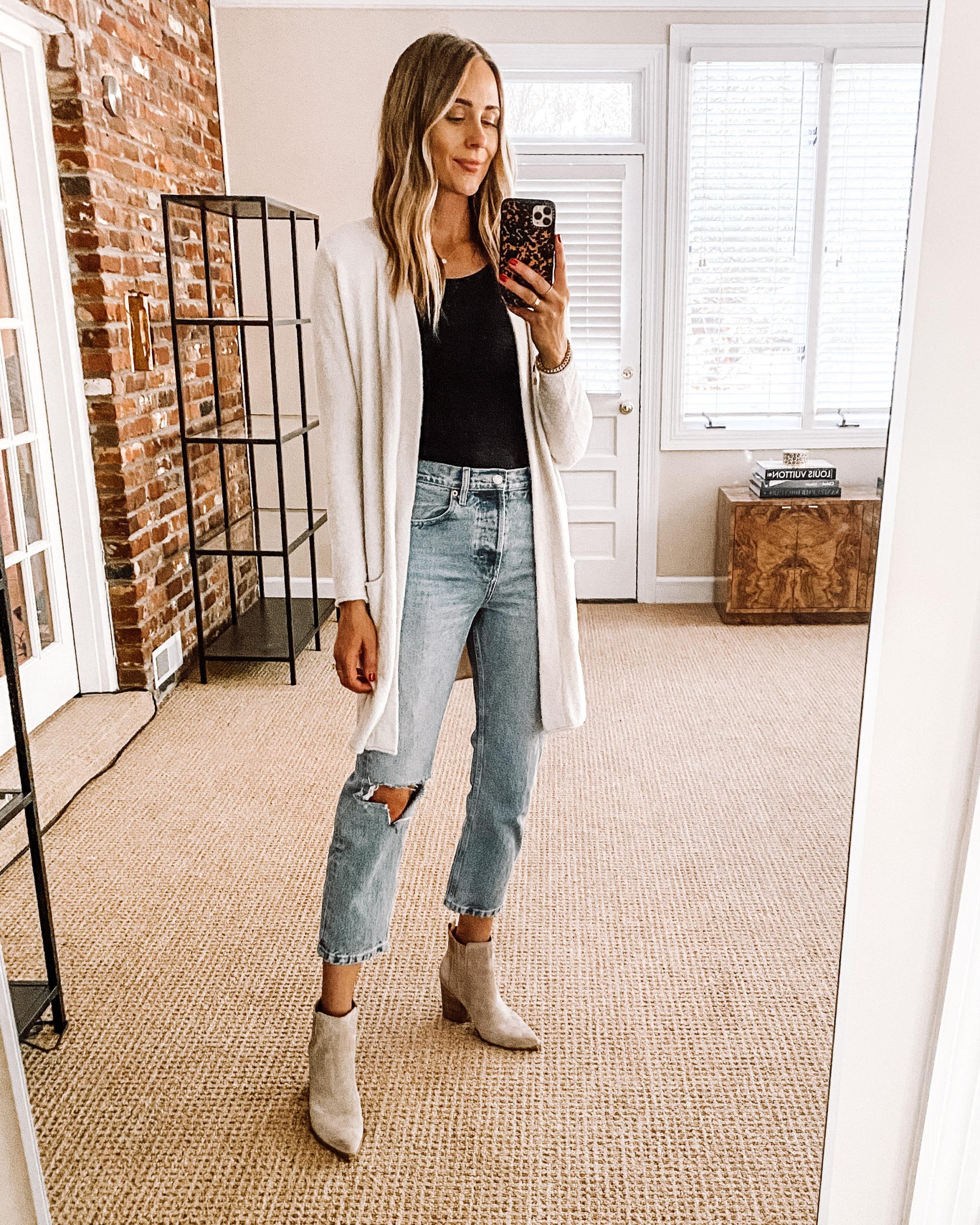 Fashion Jackson Nordstrom Anniversary Sale Barefoot Dreams Cardigan Black Bodysuit Topshop Ripped Jeans Tan Booties