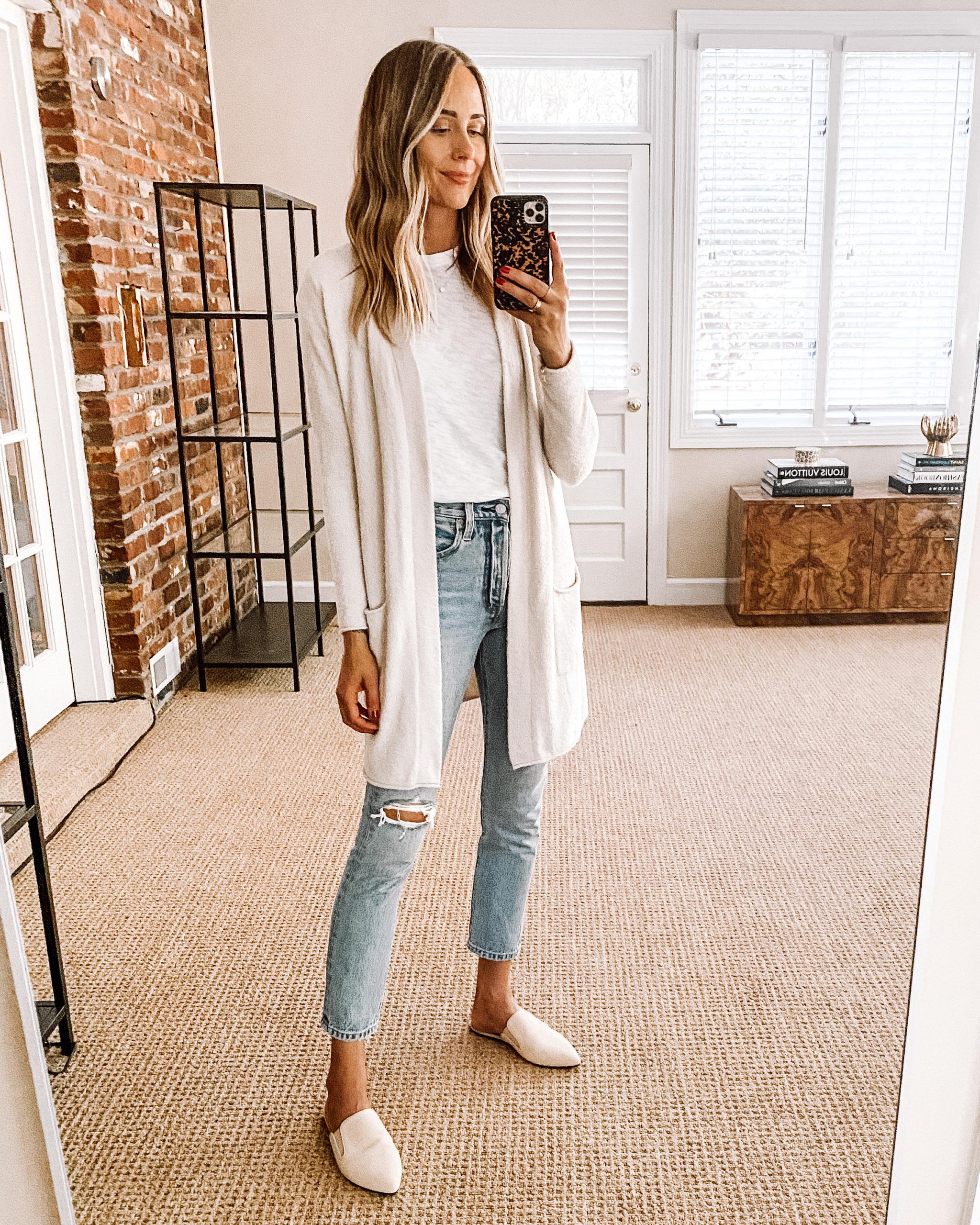 Fashion Jackson Nordstrom Anniversary Sale Barefoot Dreams Cardigan White Tshirt White Ripped Jeans