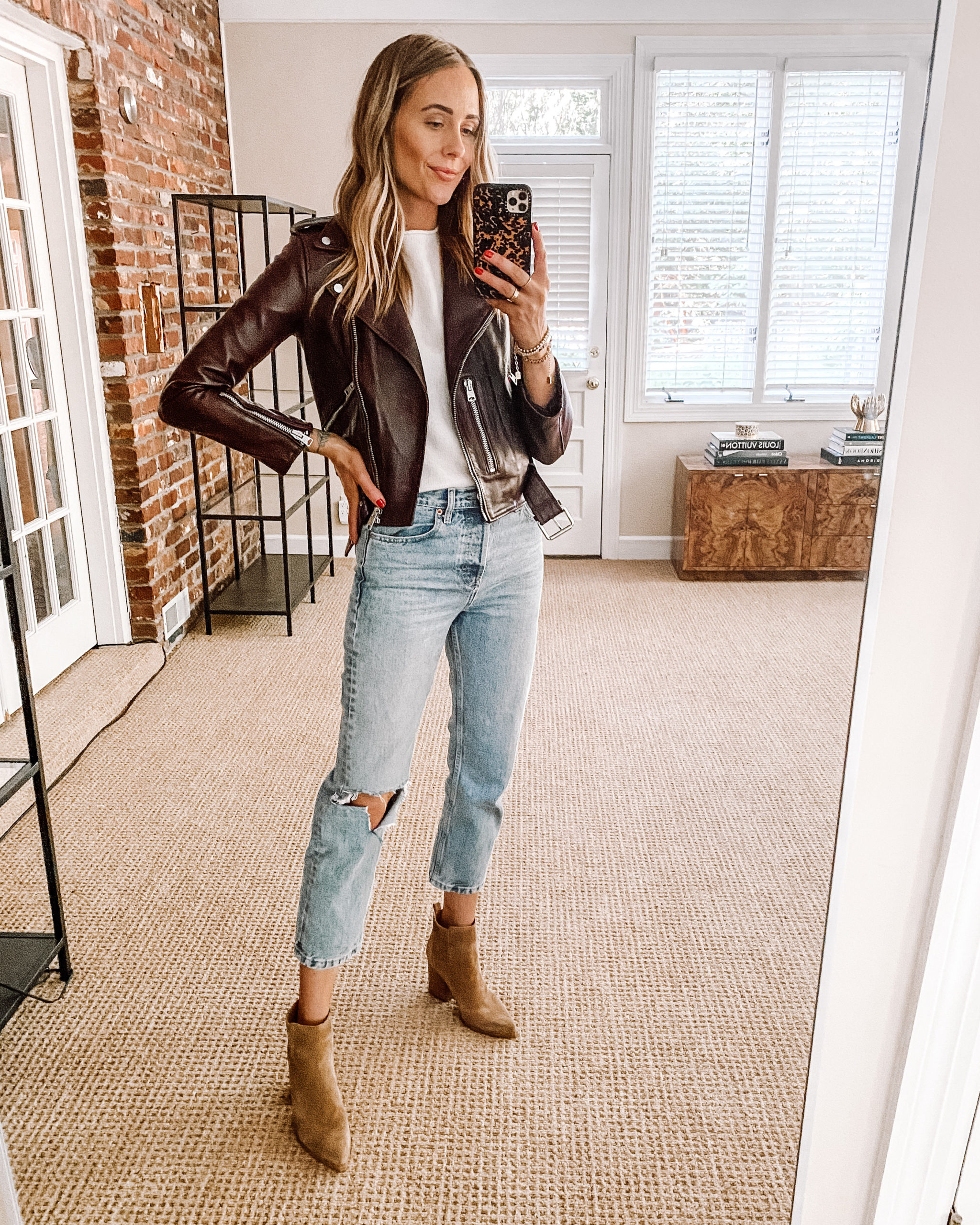 Fashion Jackson Nordstrom Anniversary Sale ALLSAINTS leather Jacket White Tshirt White Ripped Jeans Booties