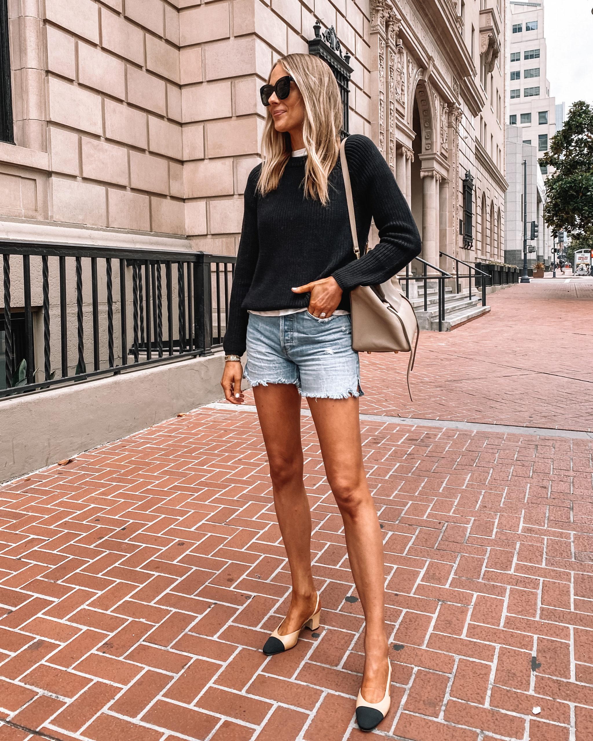 Fashion Jackson Wearing Black Jenni Kayne Cotton Sweater Denim Shorts, Chanel Slingbacks