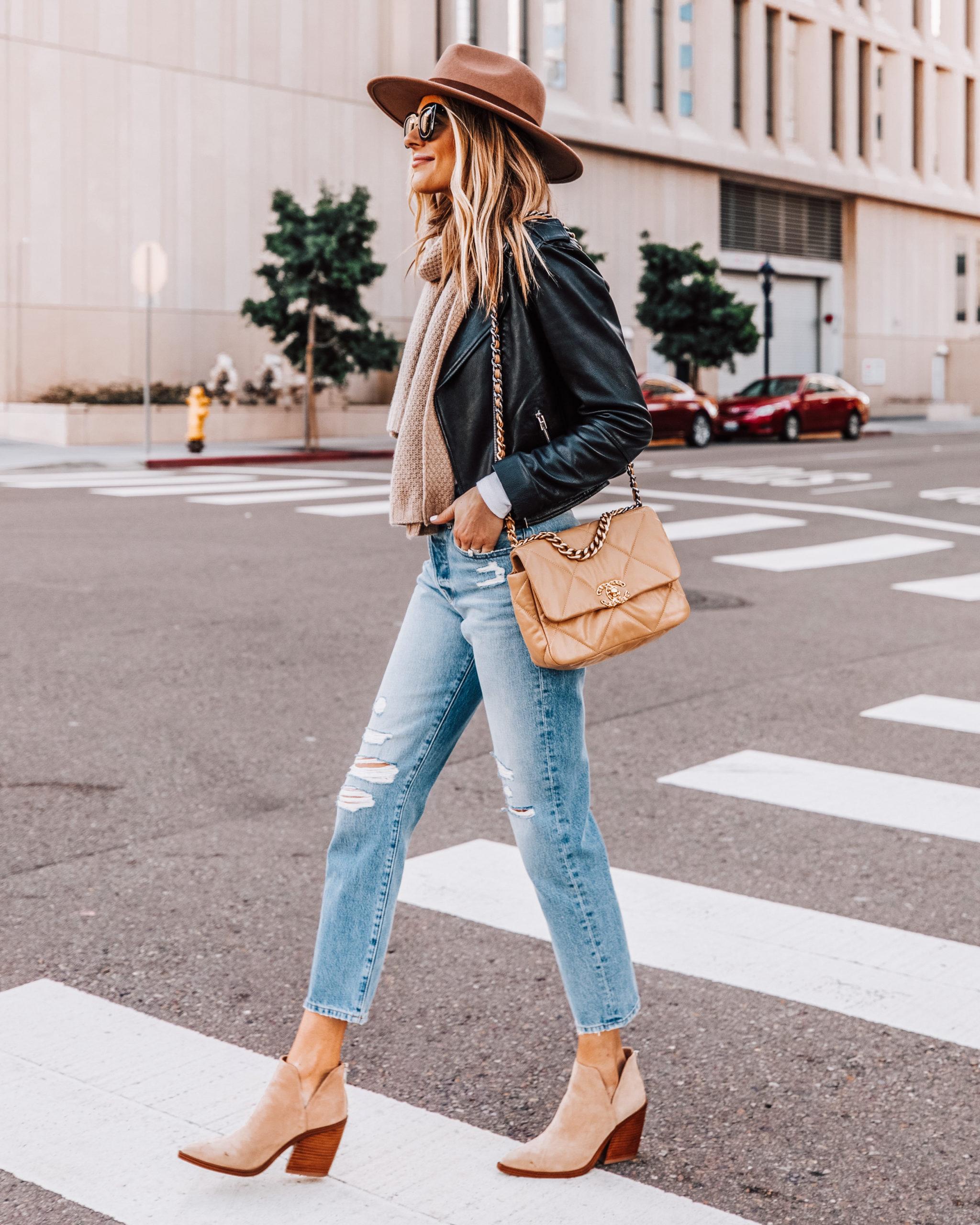 Fashion Jackson Wearing Brown Hat Black Leather Jacket Ripped Jeans Tan Booties Chanel Handbag