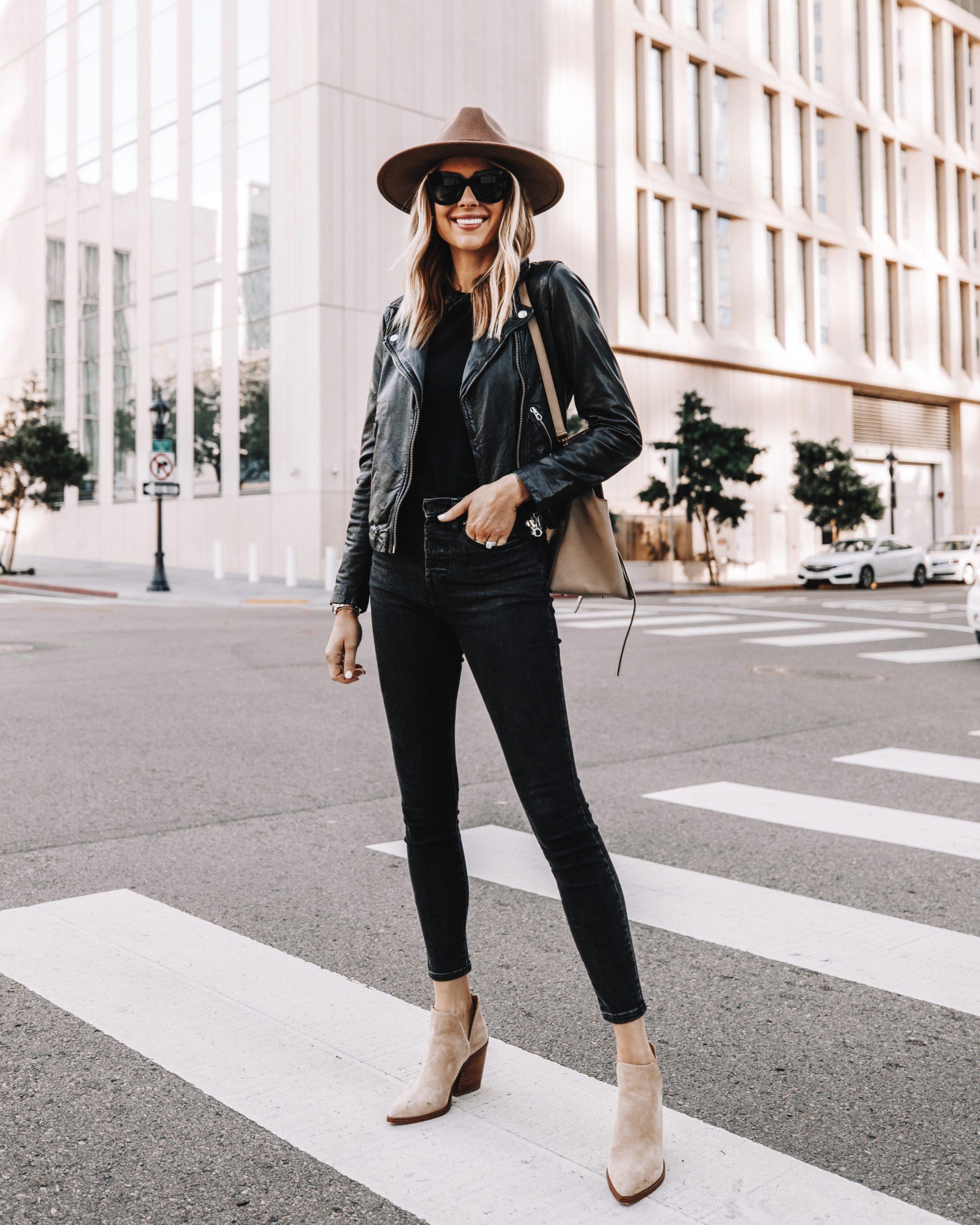 Fashion Jackson Black Leather Jacket Black Skinny Jeans Tan Suede Booties Tan Hat