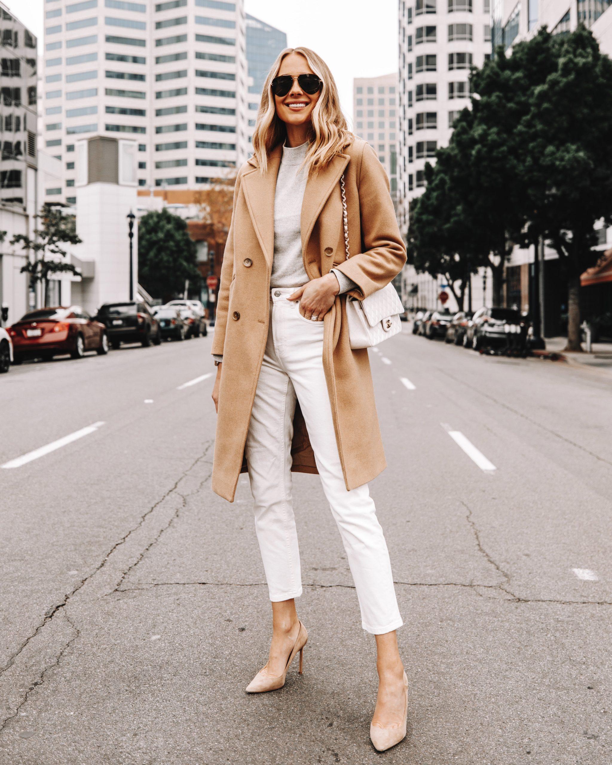 Fashion Jackson Wearing Camel Coat White Jeans Tan Pumps