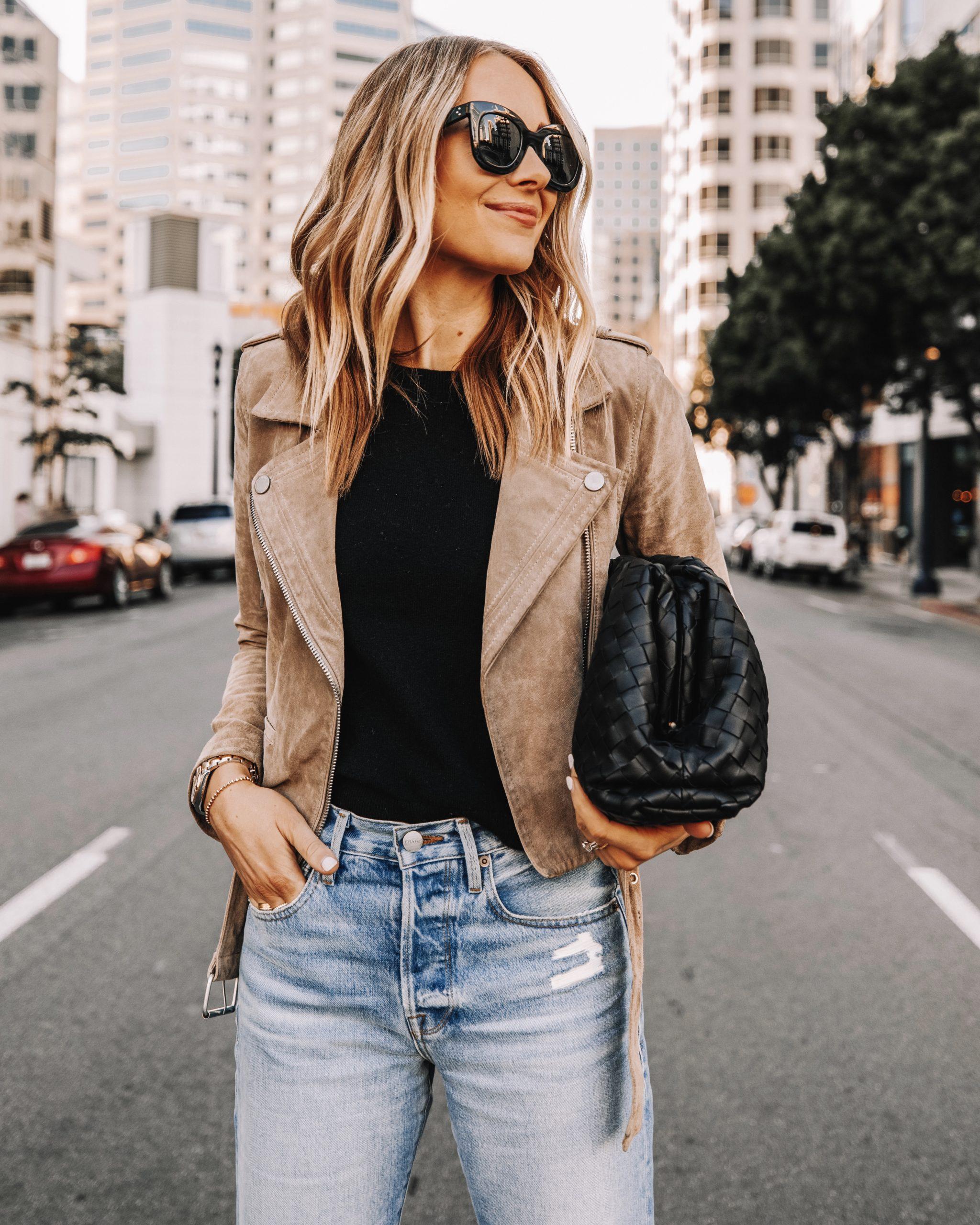 Fashion Jackson Wearing Blanknyc Suede Moto Jacket Bottega Veneta Black Clutch