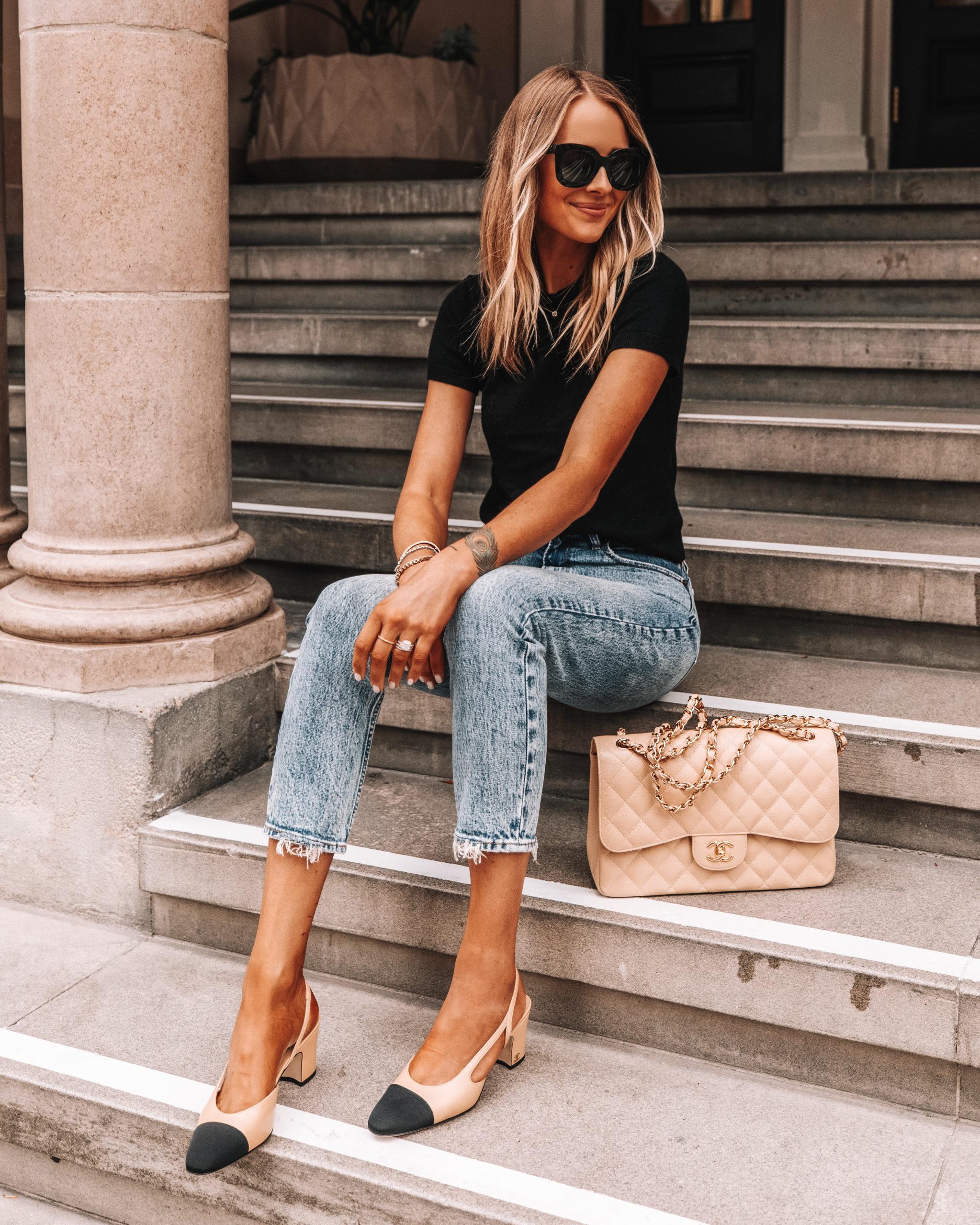 Fashion Jackson Wearing Black Short Sleeve Sweater Abercrombie Jeans Chanel Slingbacks Chanel Beige Handbag